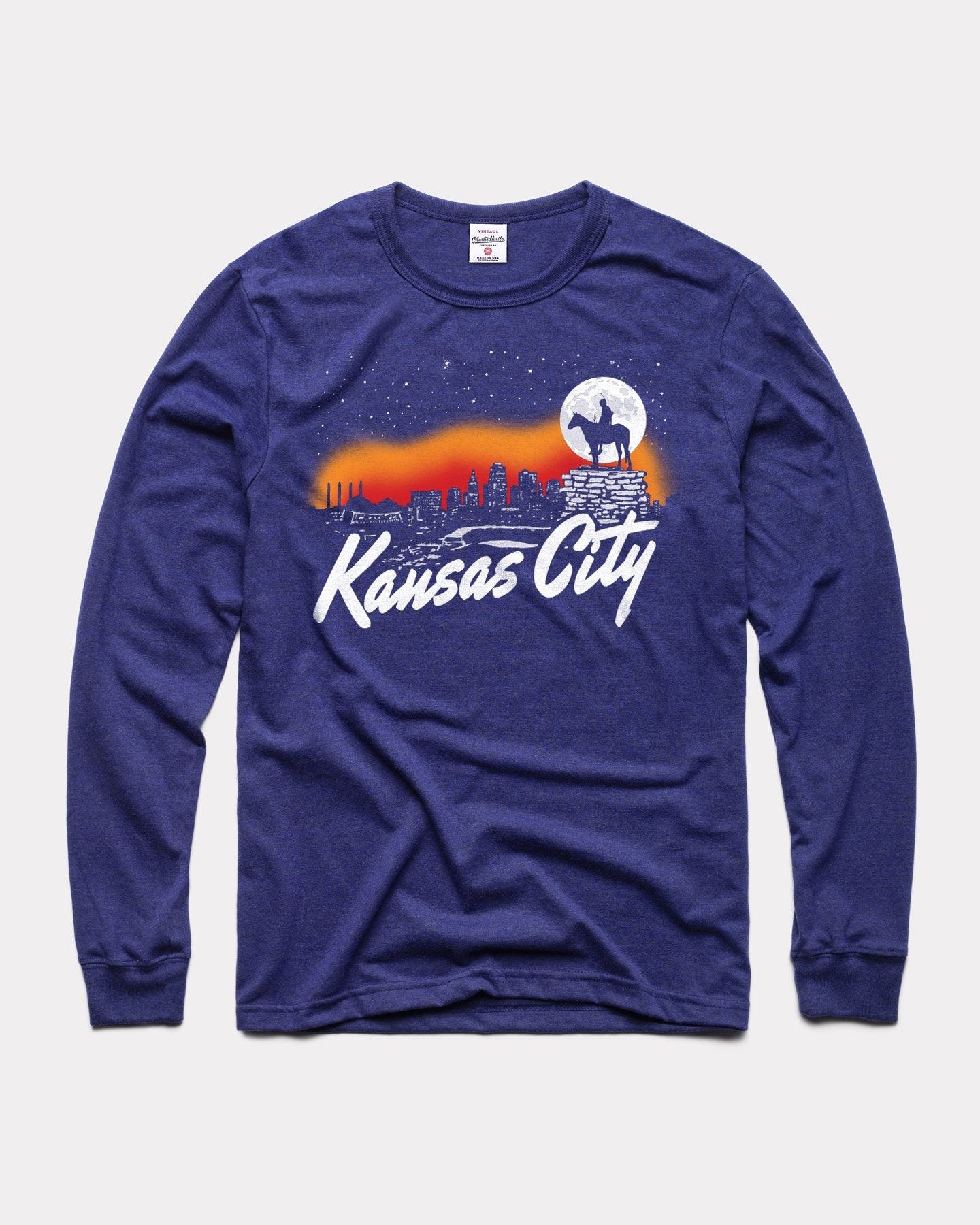 Navy Kansas City Scout Long Sleeve Vintage T-Shirt