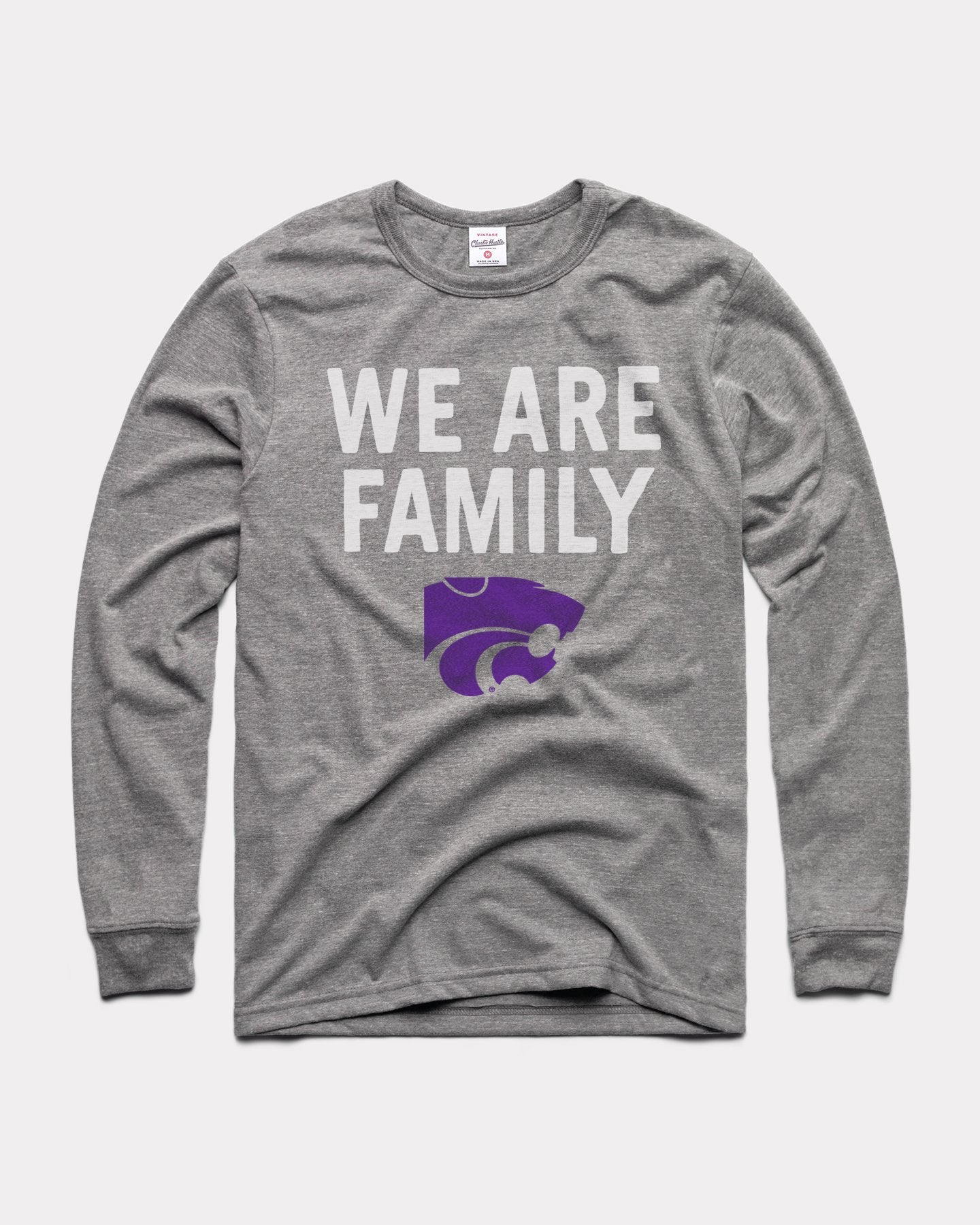 Grey K-State We Are Family Long Sleeve Vintage T-Shirt