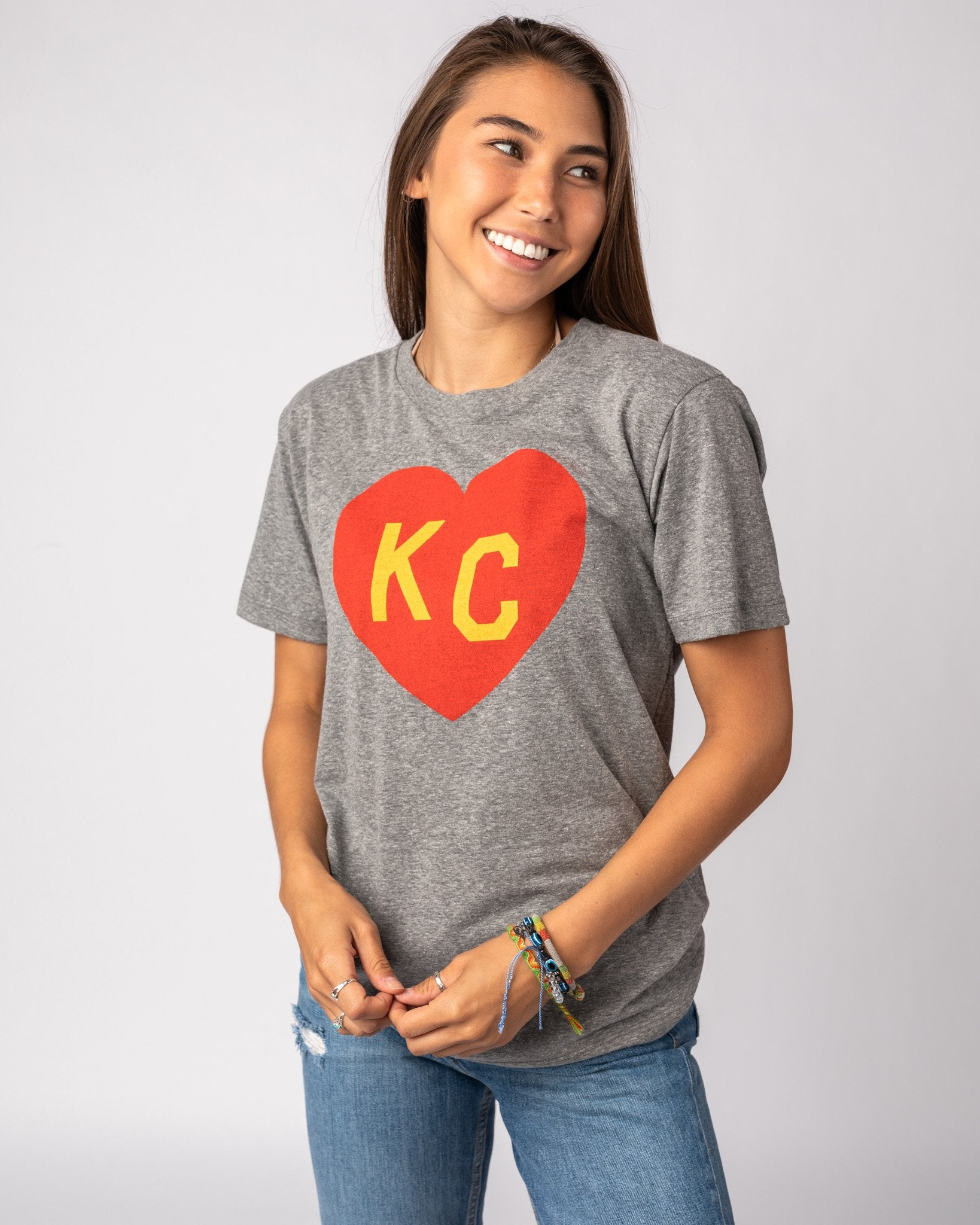 Grey Arrowhead Collection KC Heart Vintage T-Shirt Front