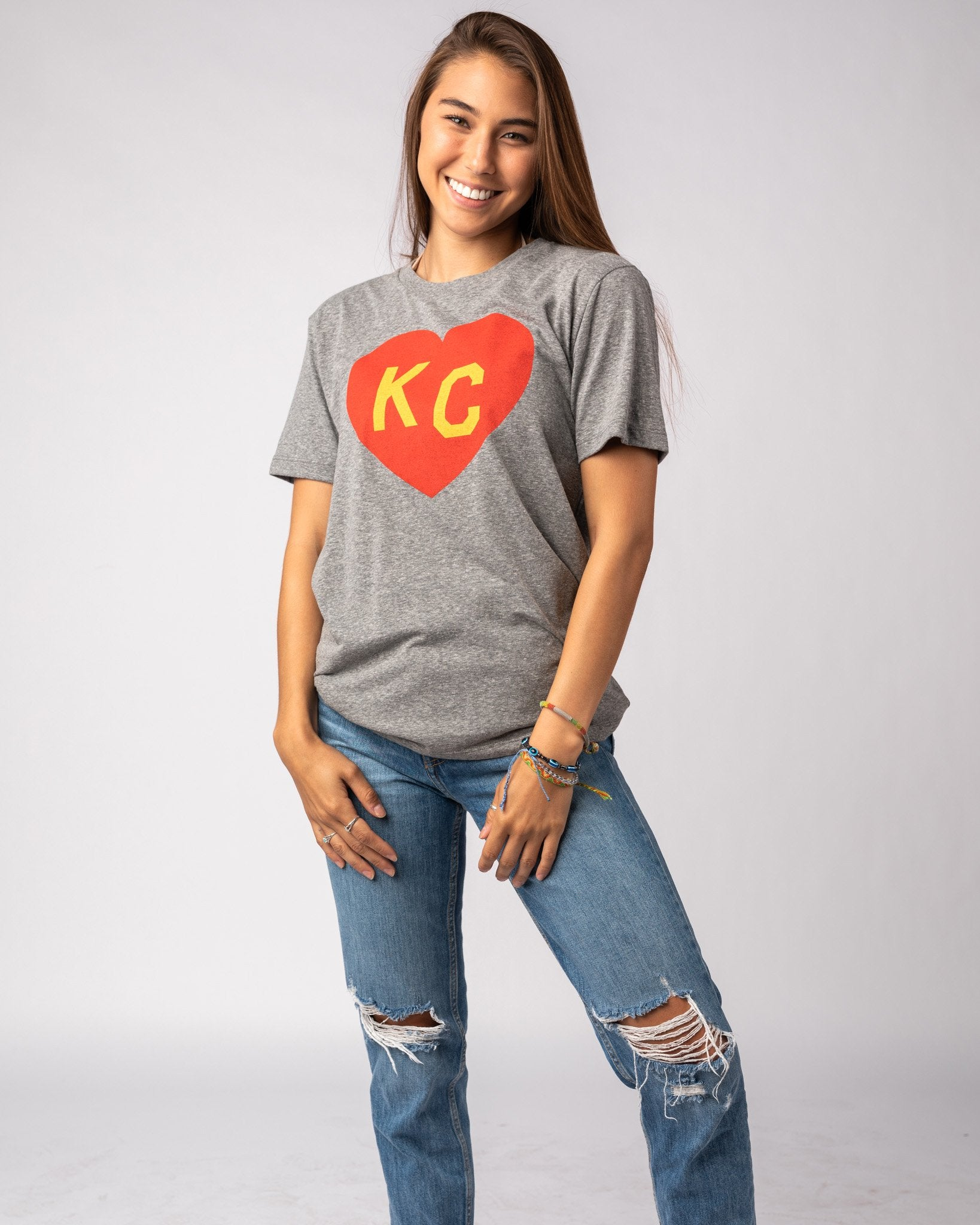 Grey Arrowhead Collection KC Heart Vintage T-Shirt Wide
