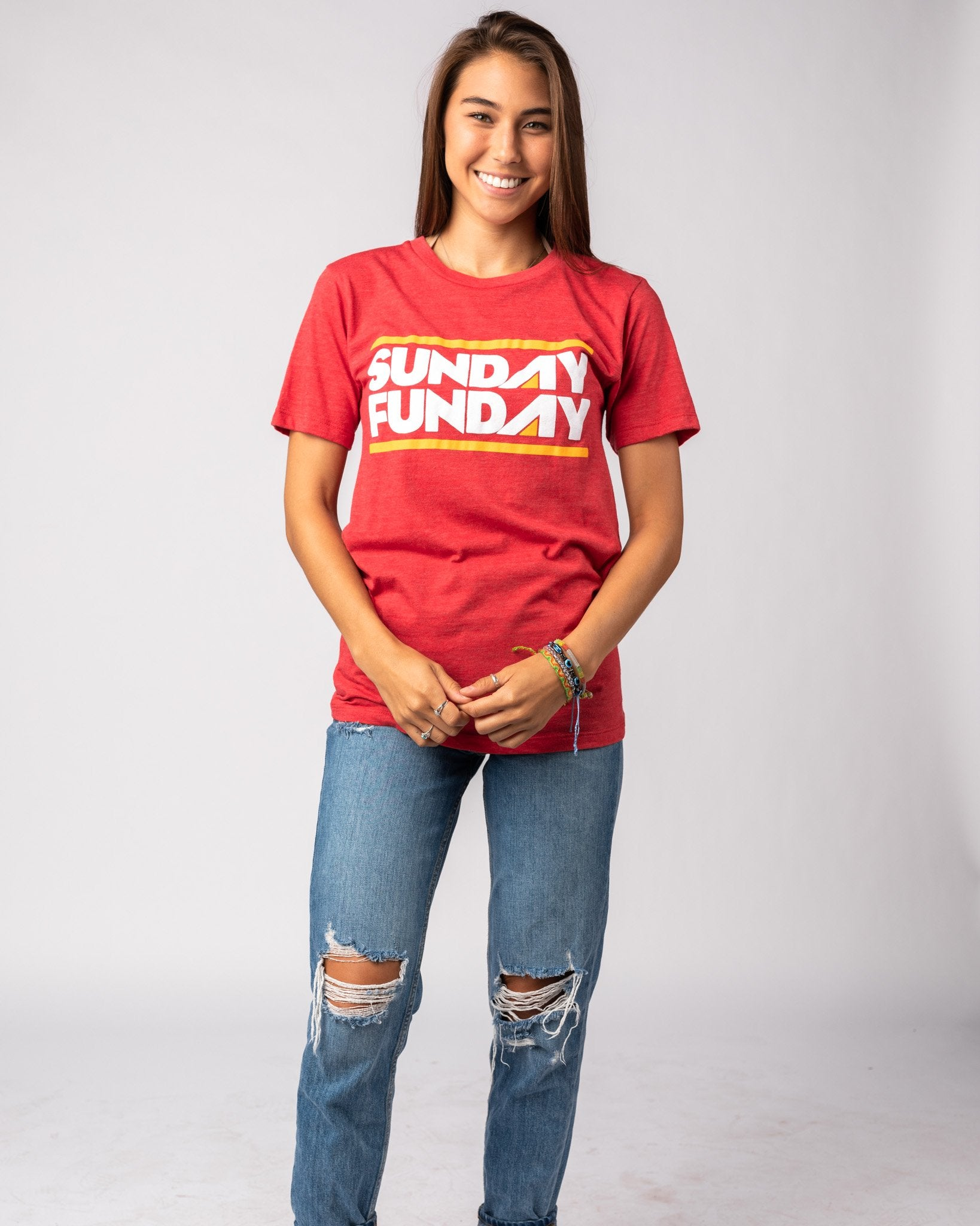 Red Sunday Funday Vintage T-Shirt Wide