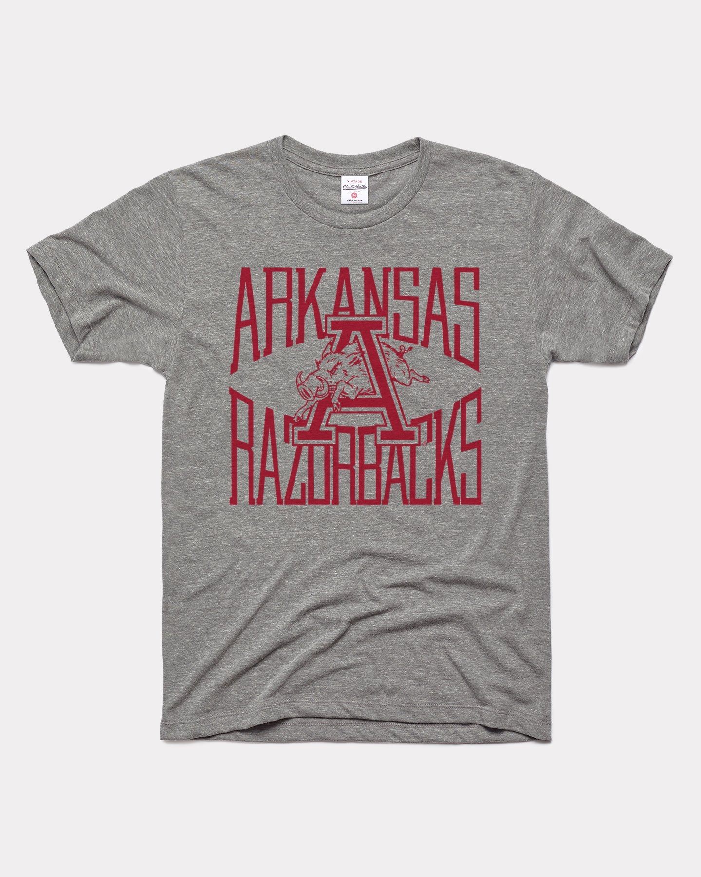 Grey Arkansas Razorbacks Game Day Tall Type Vintage T-Shirt