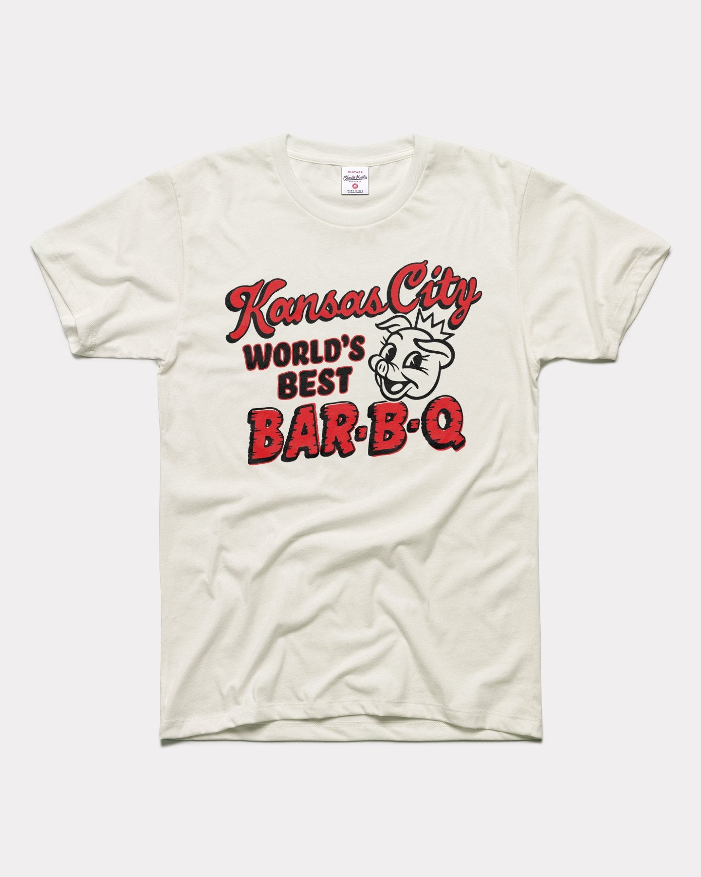 White  Kansas City World's Best Bar-B-Q Vintage T-Shirt
