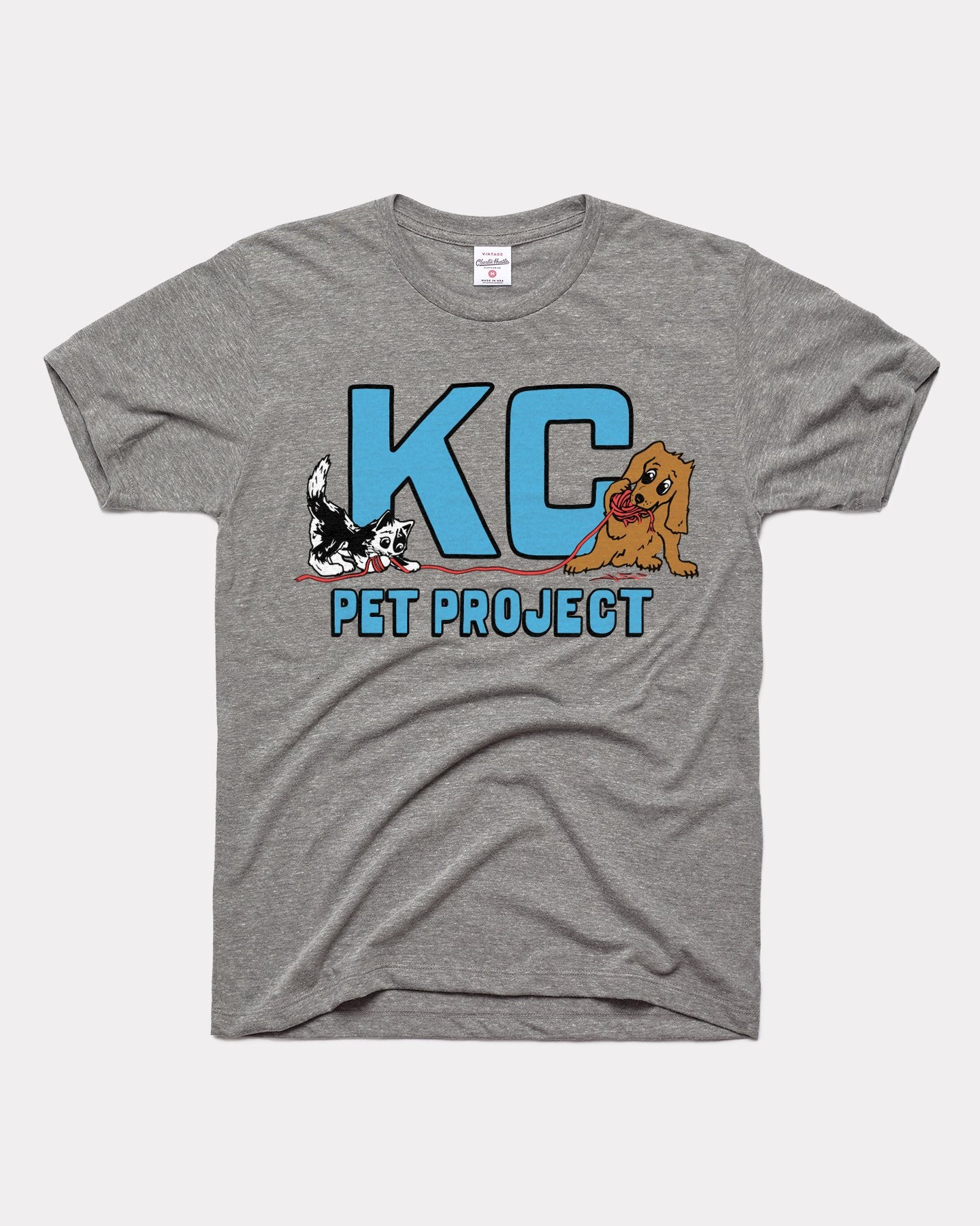 Grey KC Pet Project Playful Pets Vintage T-Shirt
