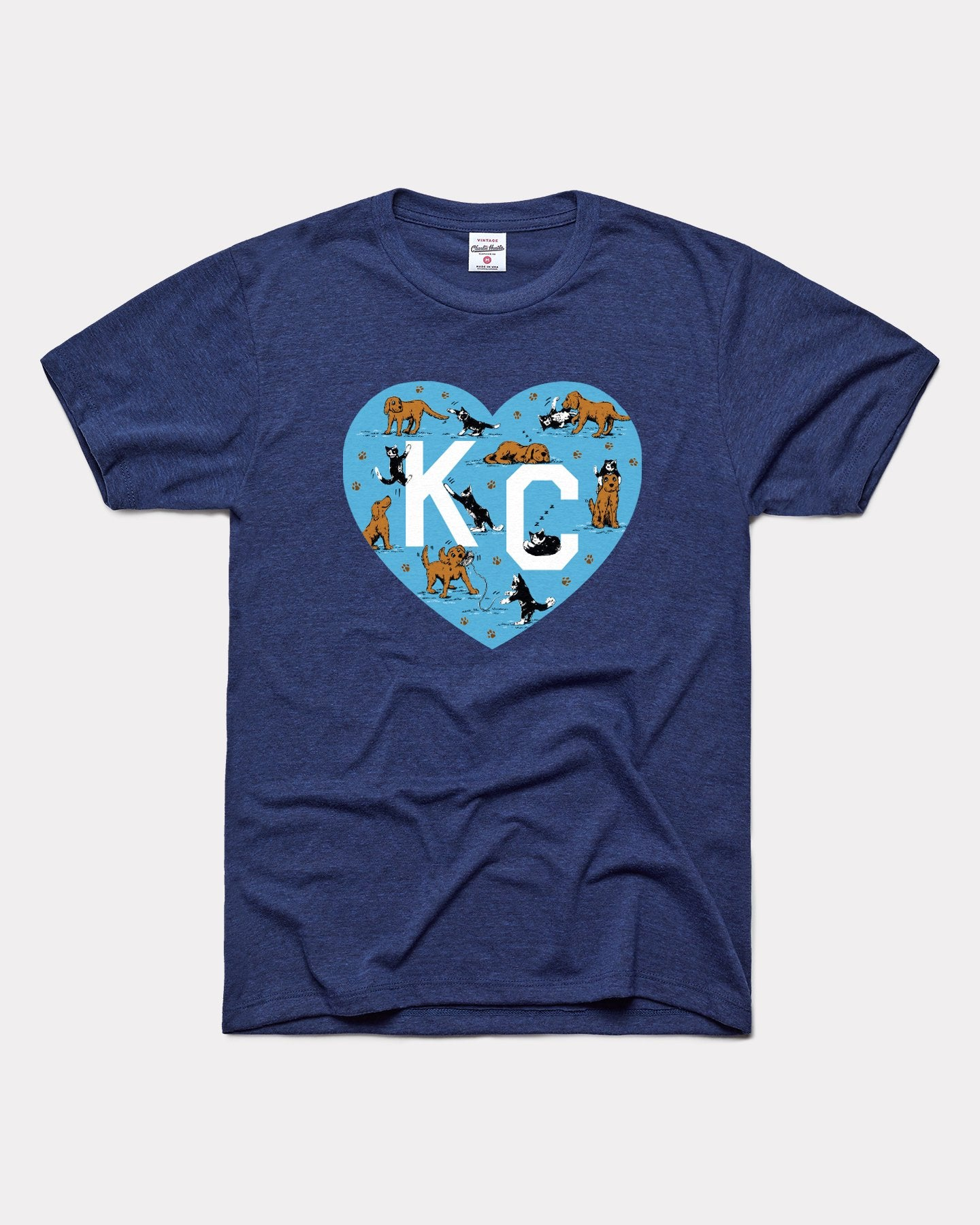 Navy KC Pet Project Dogs & Cats KC Heart Vintage T-Shirt