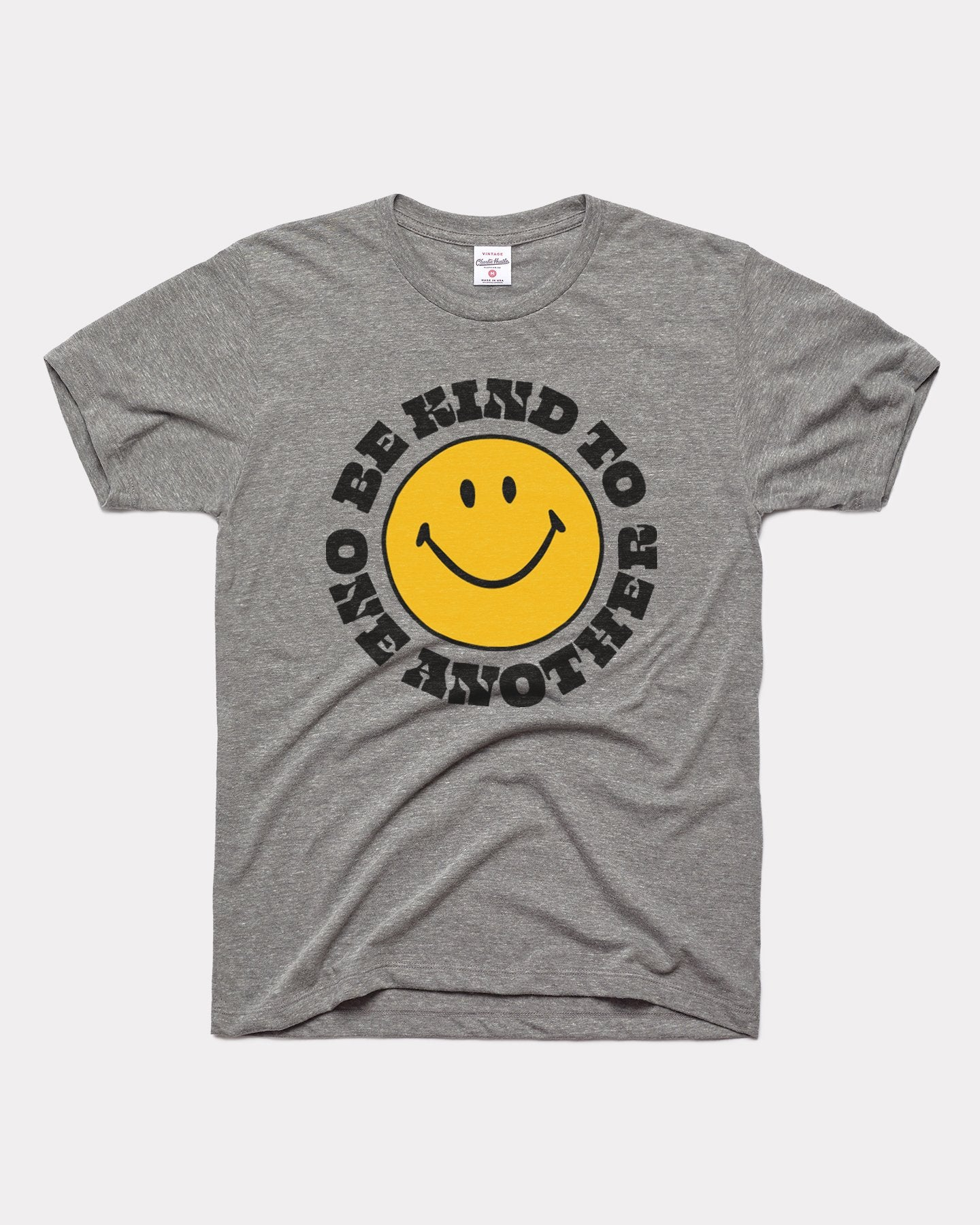 Grey Be Kind To One Another Smiley Face Vintage T-Shirt