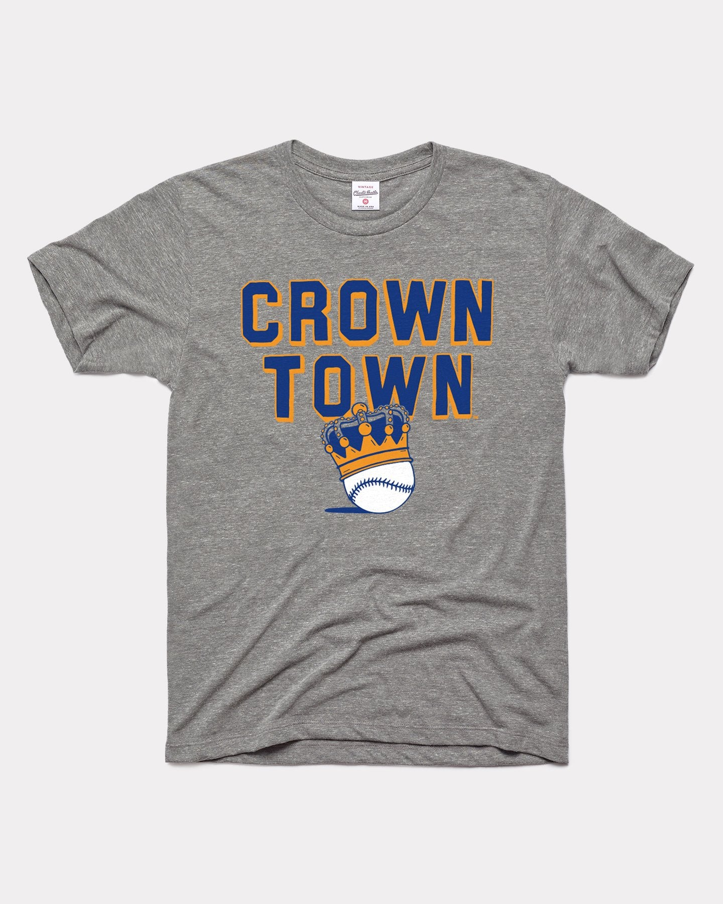Grey Kansas City Baseball Crown Town Vintage T-Shirt