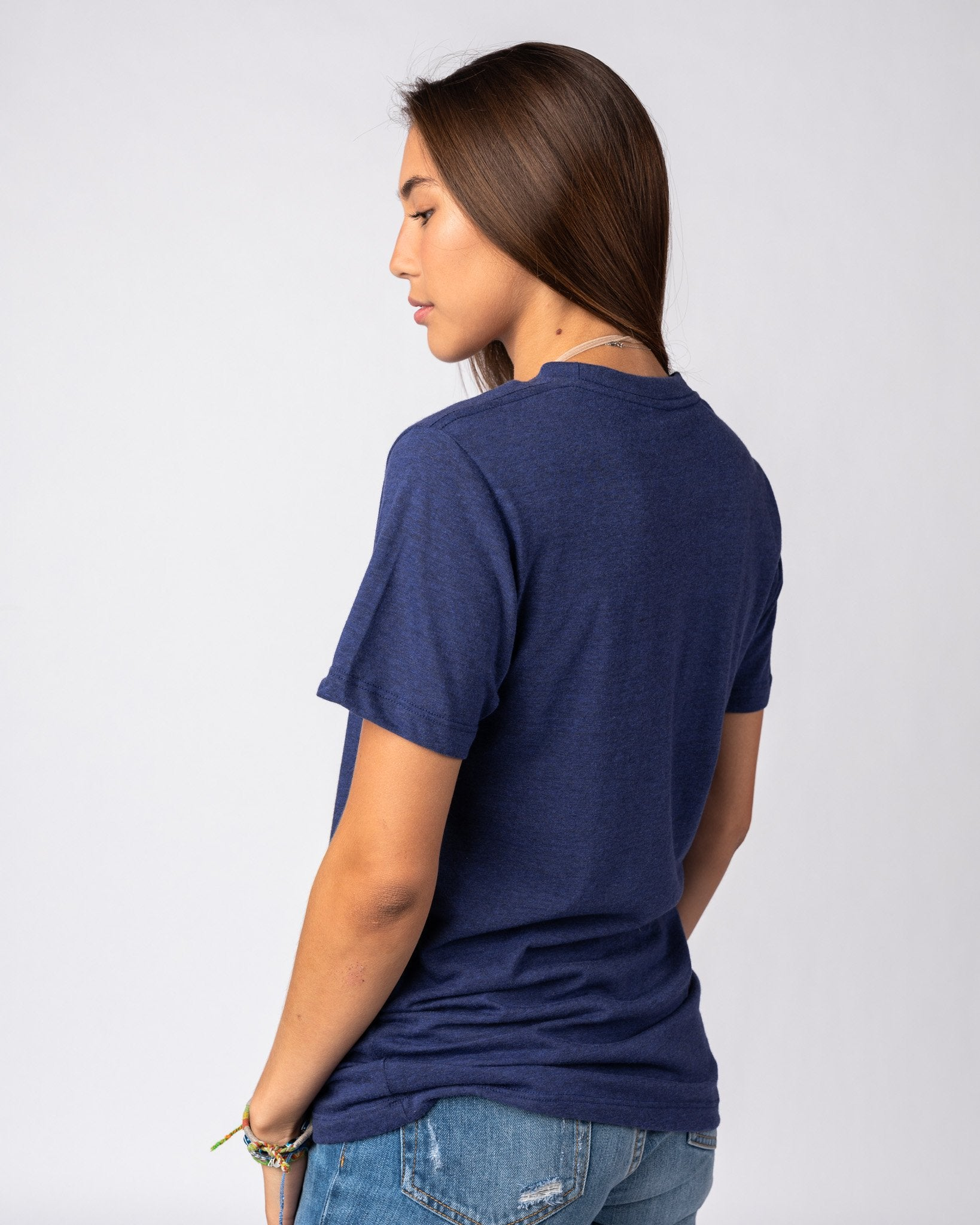 Navy Unisex Essentials Collection Vintage T-Shirt Side