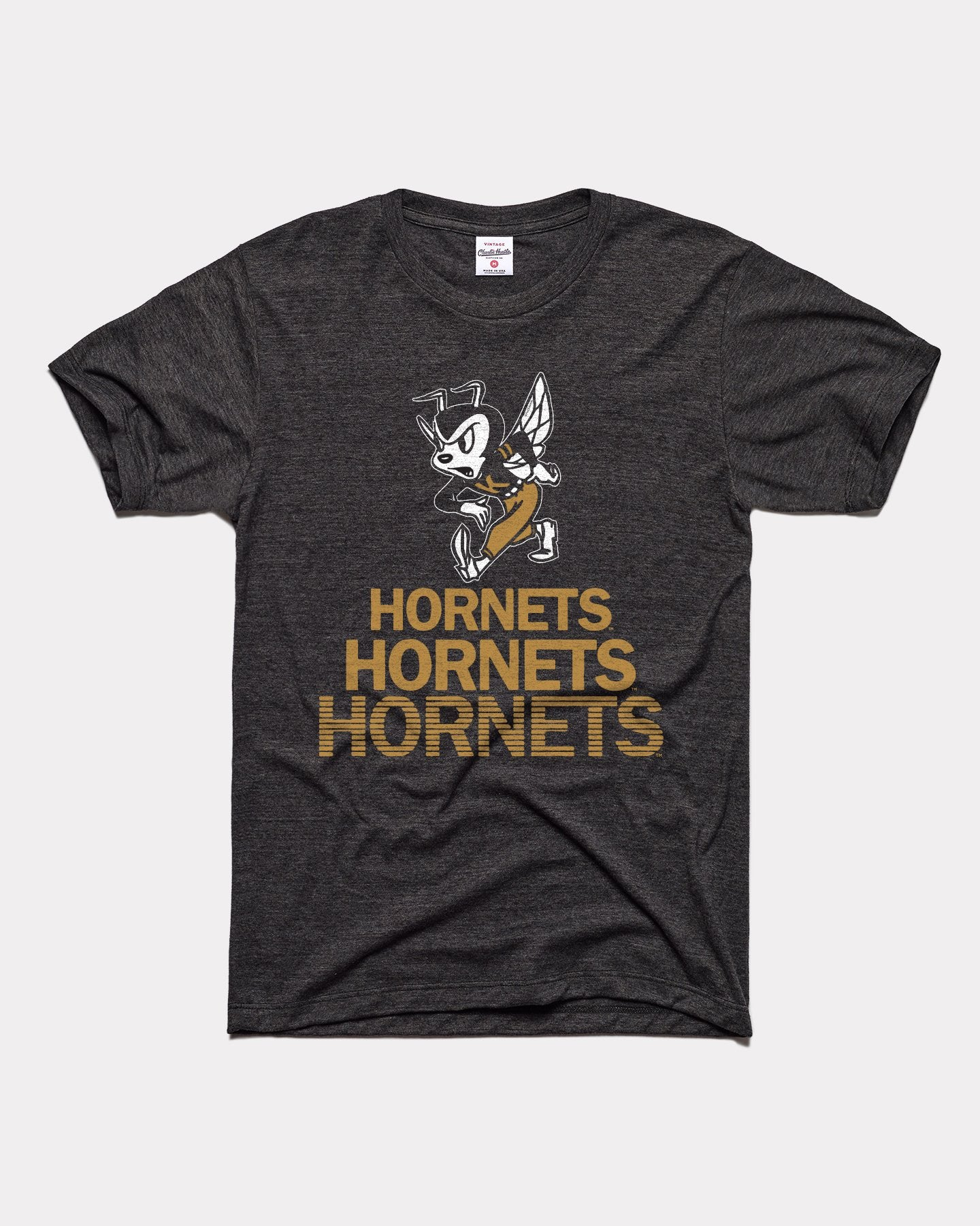 Black Emporia State University Hornets Stacked Vintage T-Shirt