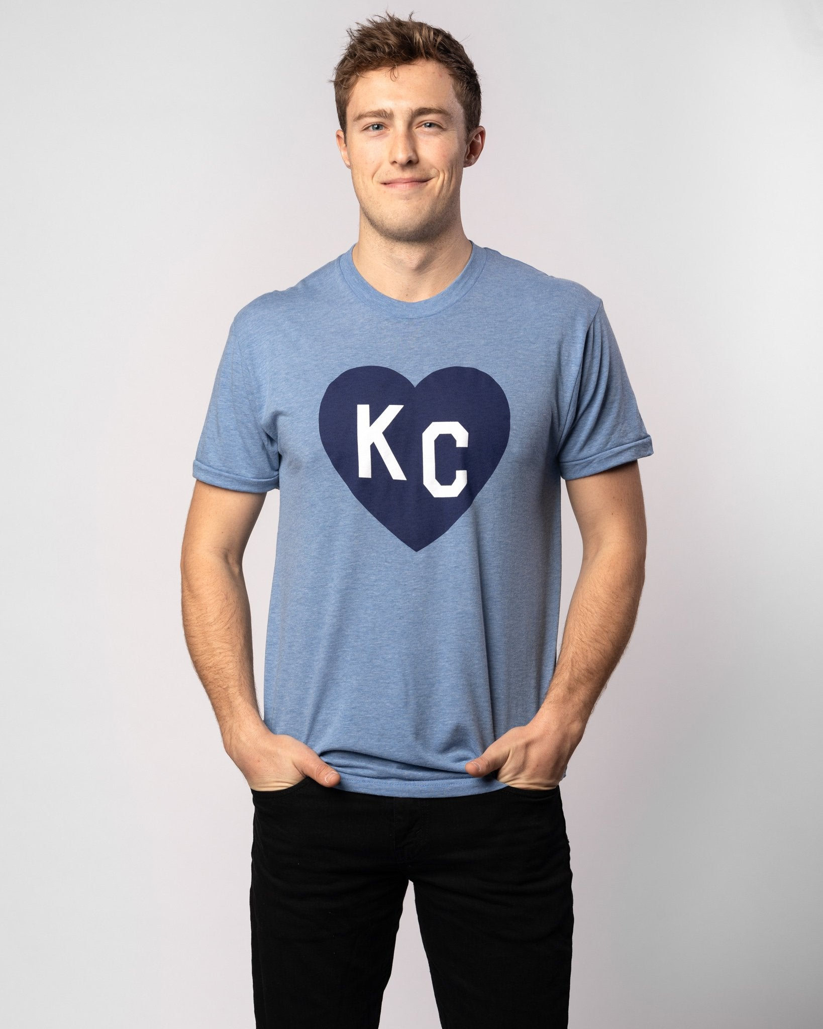 Vintage Blue KC Heart T-Shirt Wide