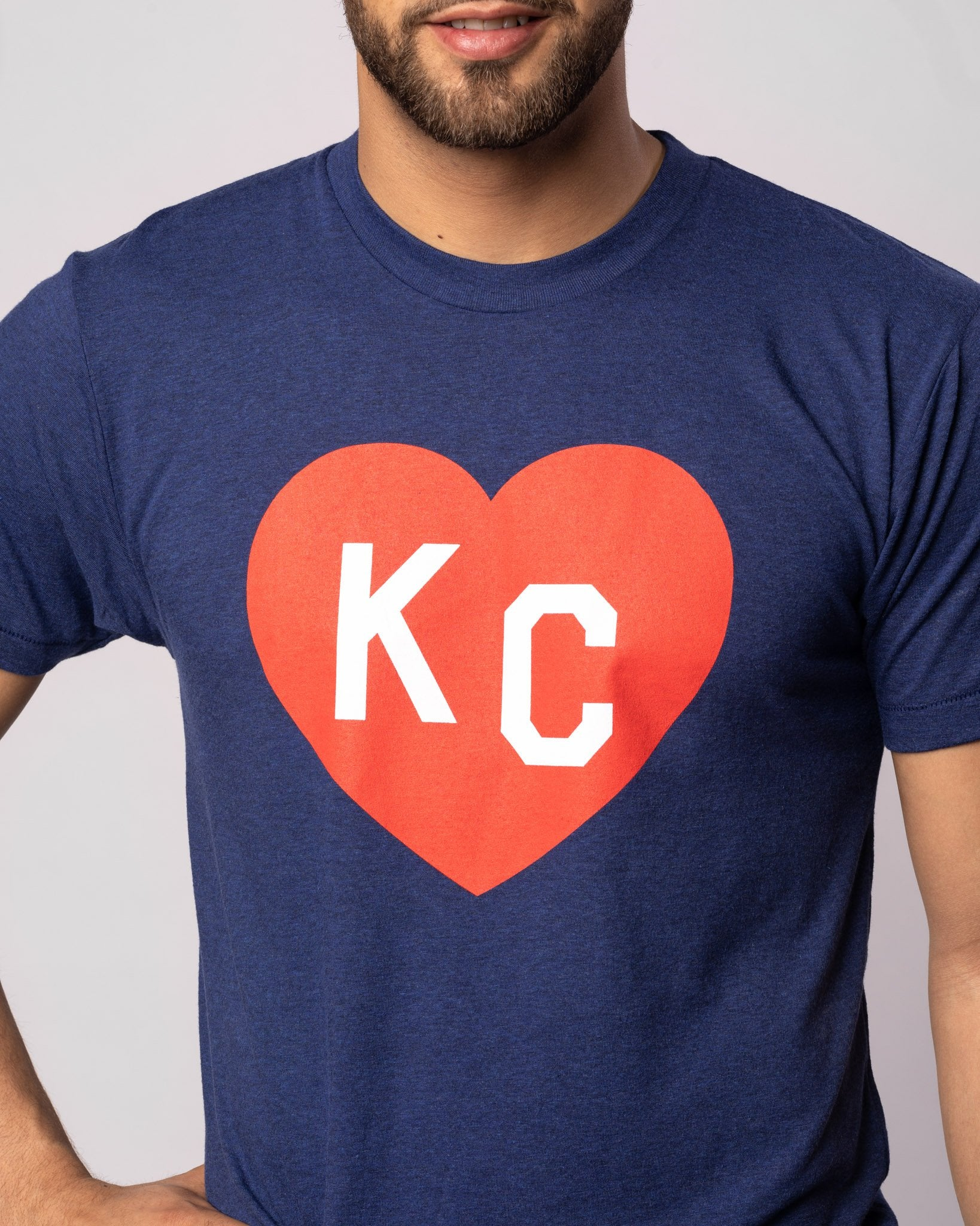 Vintage Navy KC Heart T-Shirt Front