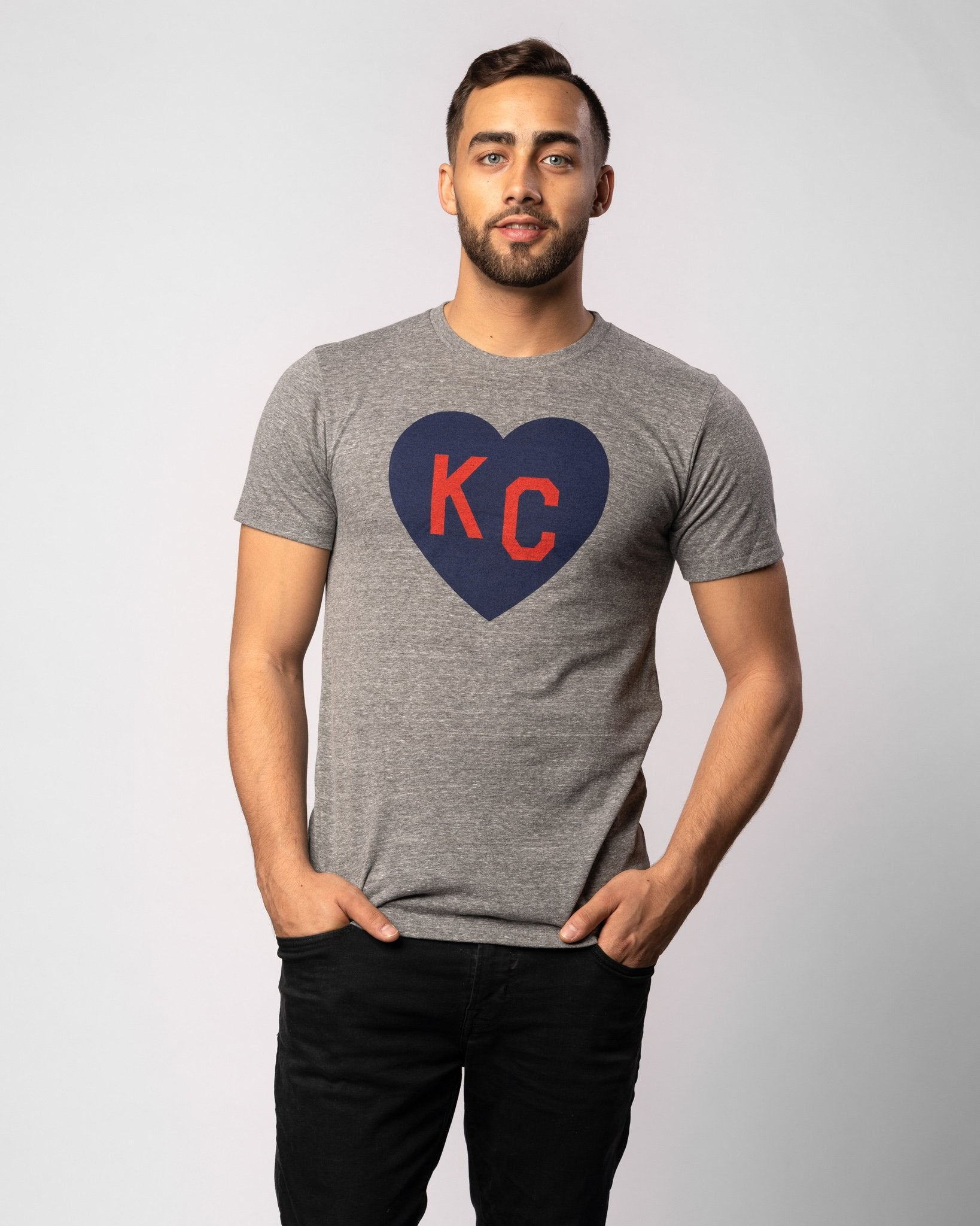 Vintage Grey Classic KC Heart Vintage T-Shirt Wide