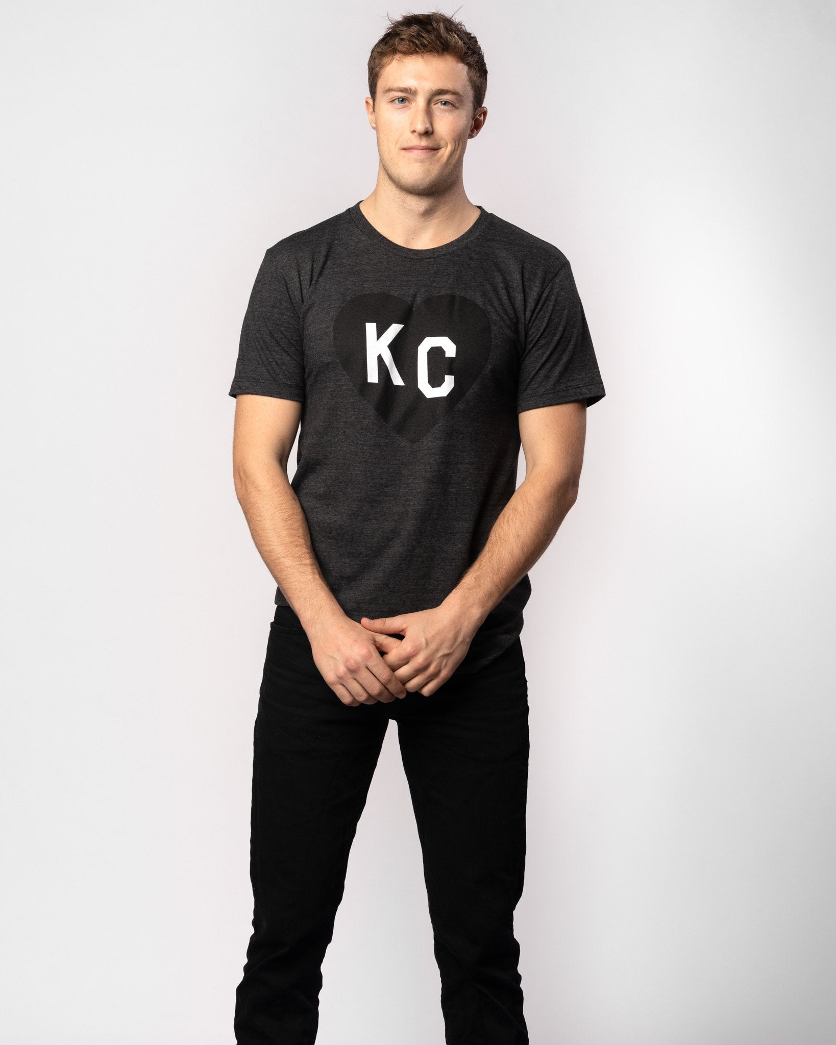 Black KC Heart Vintage T-Shirt Wide