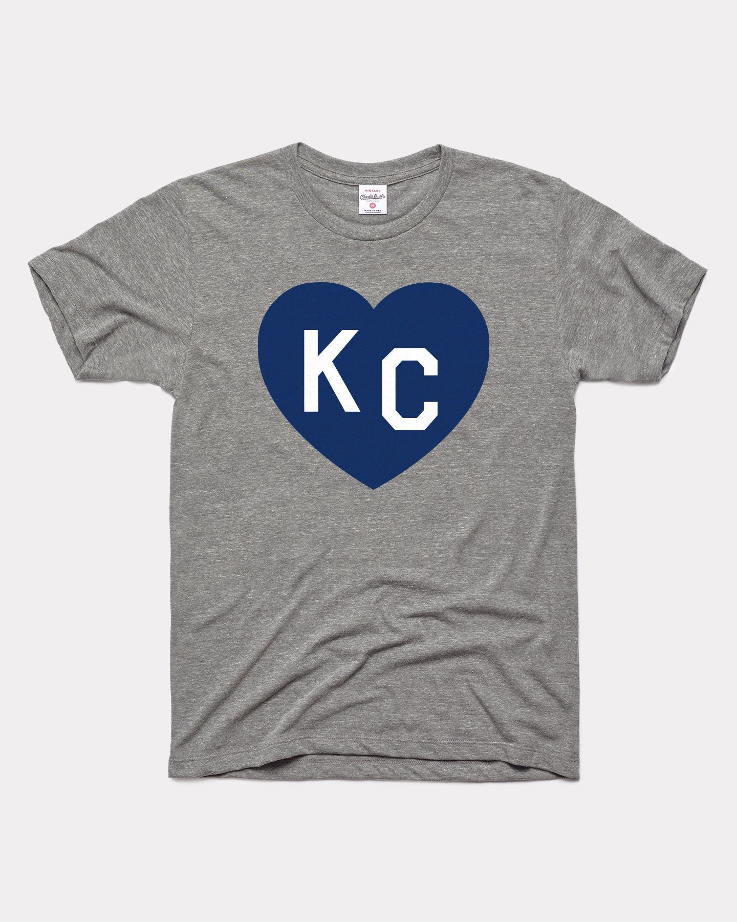 Grey & Navy KC Heart Vintage T-Shirt