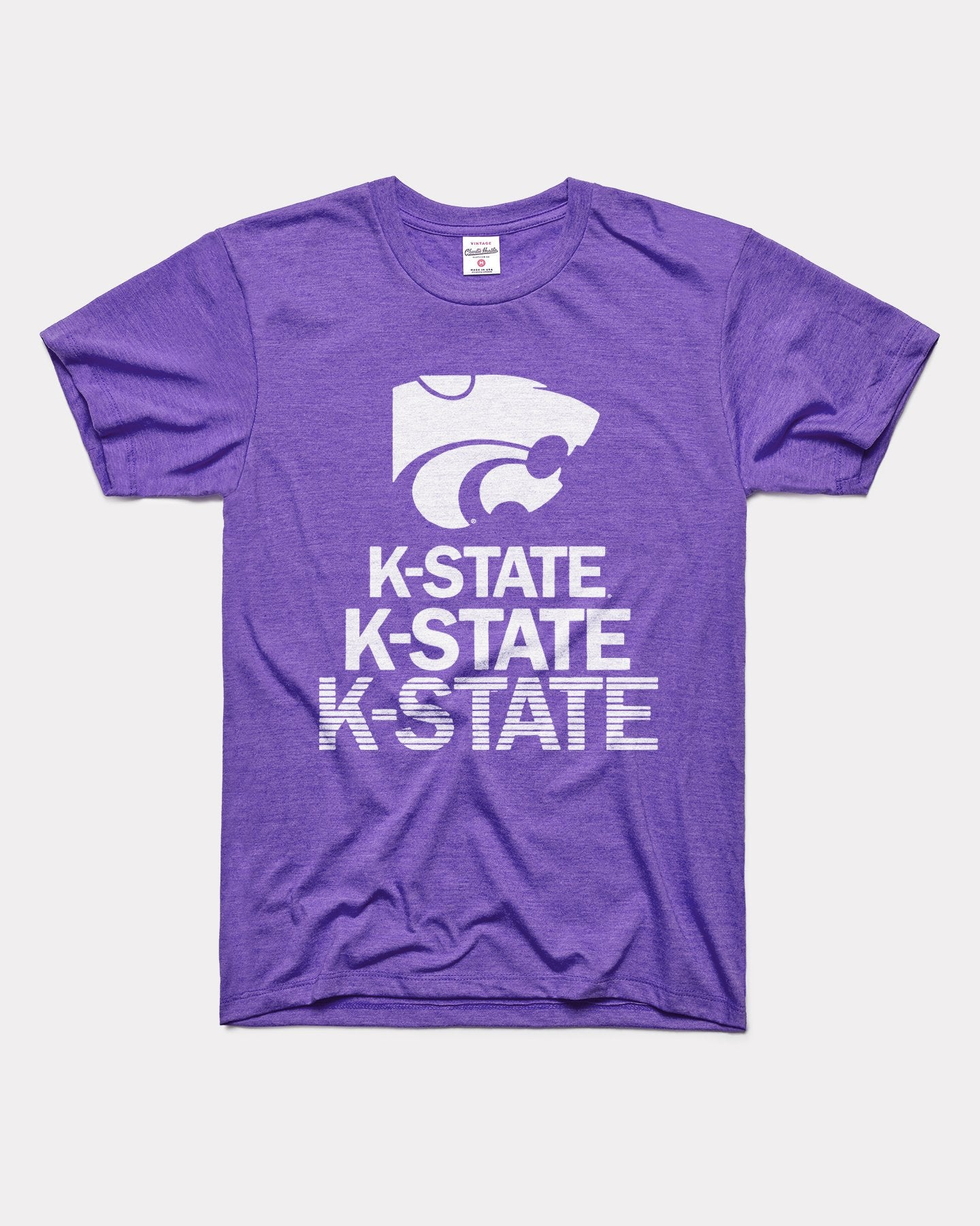 Purple Kansas State Wildcats Stacked Vintage T-Shirt