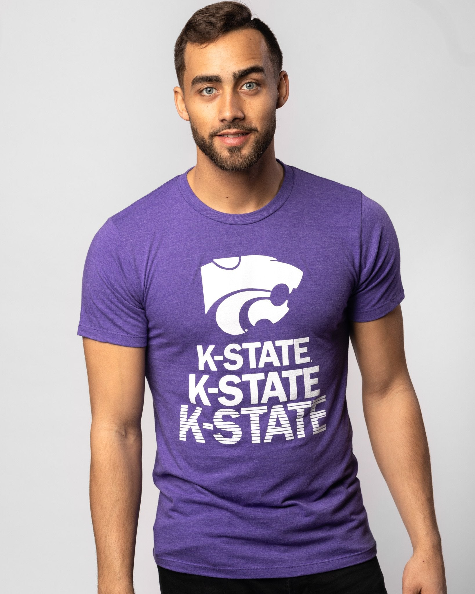 Purple Kansas State Wildcats Stacked Vintage T-Shirt Front