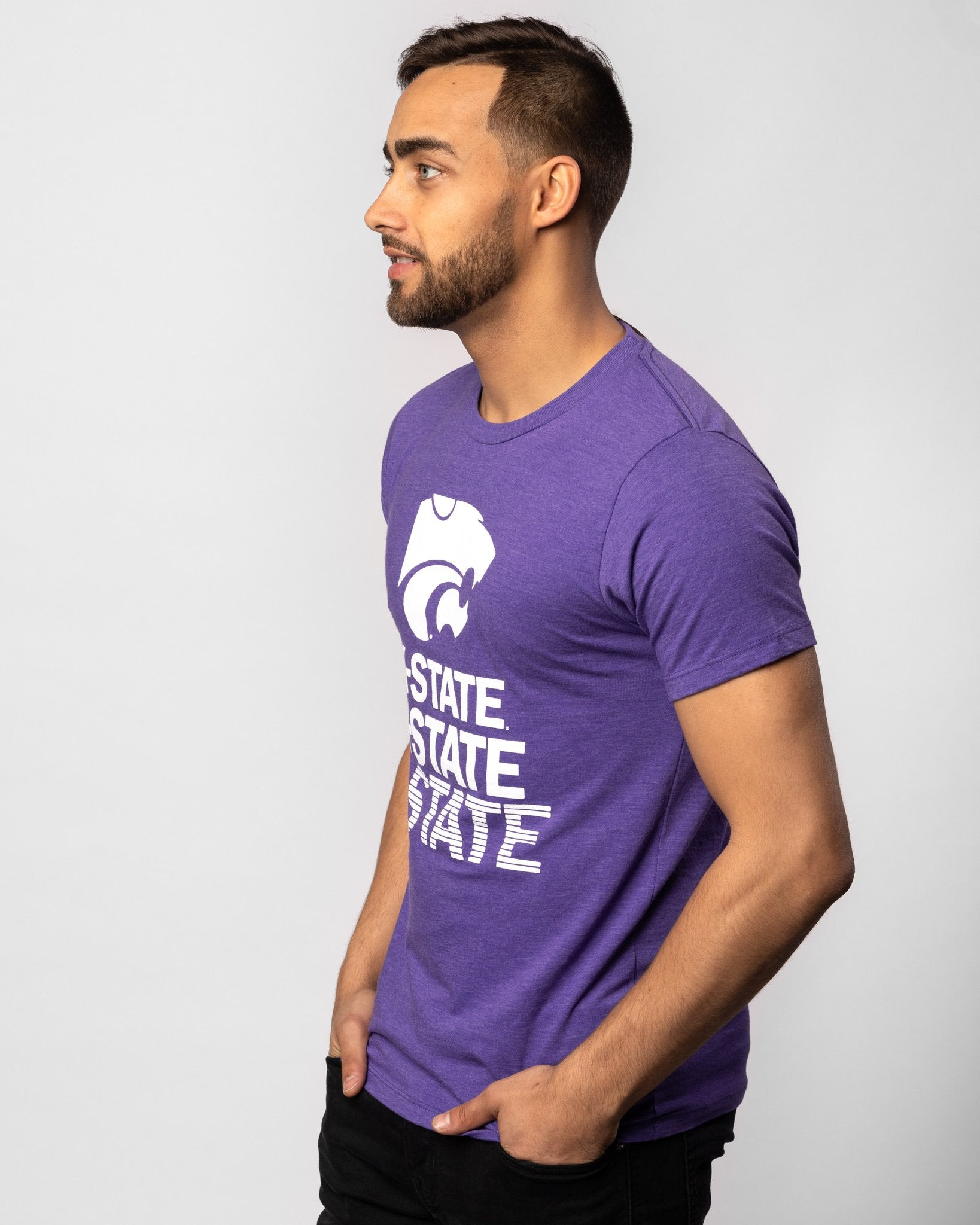 Purple Kansas State Wildcats Stacked Vintage T-Shirt Side