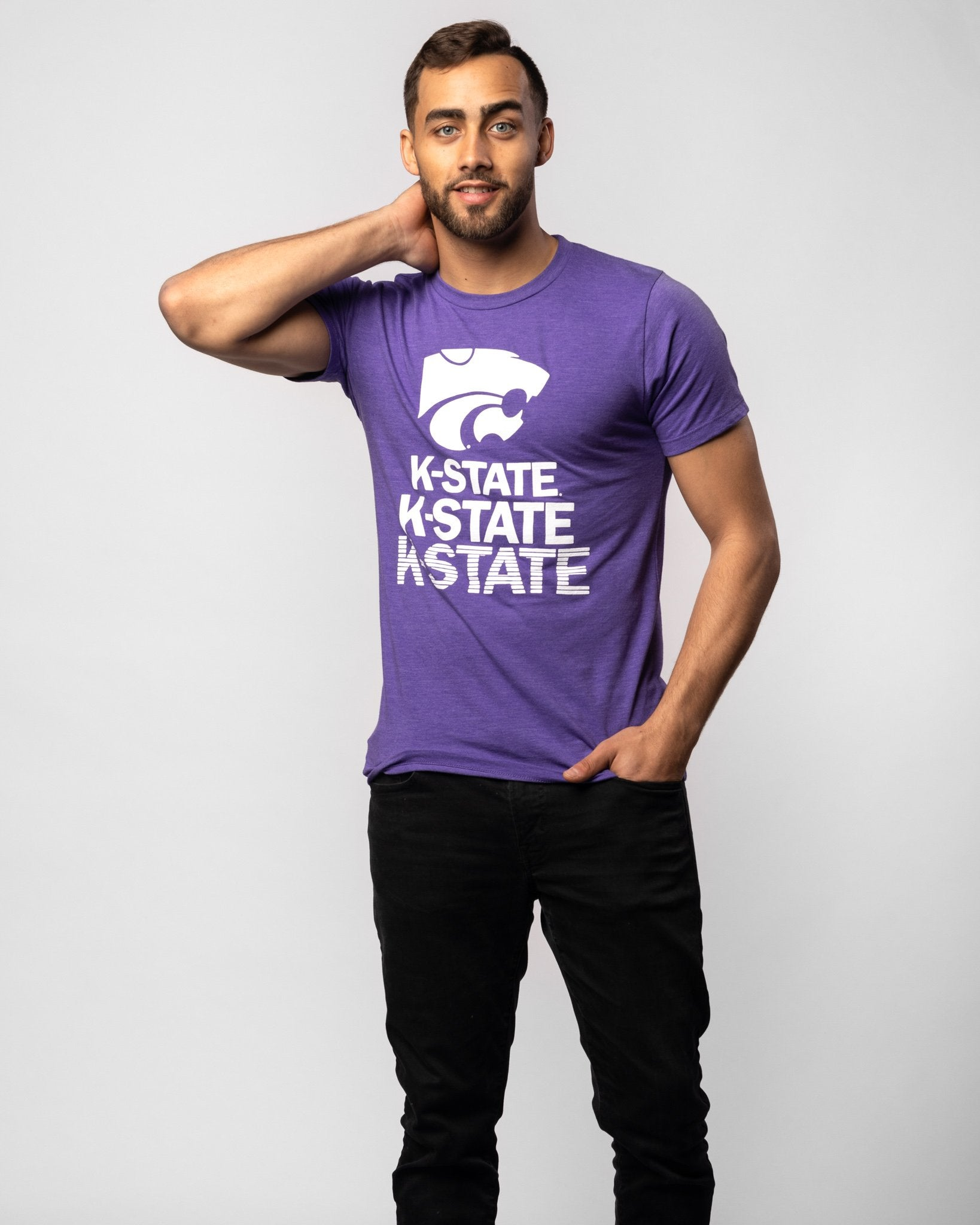 Purple Kansas State Wildcats Stacked Vintage T-Shirt Wide