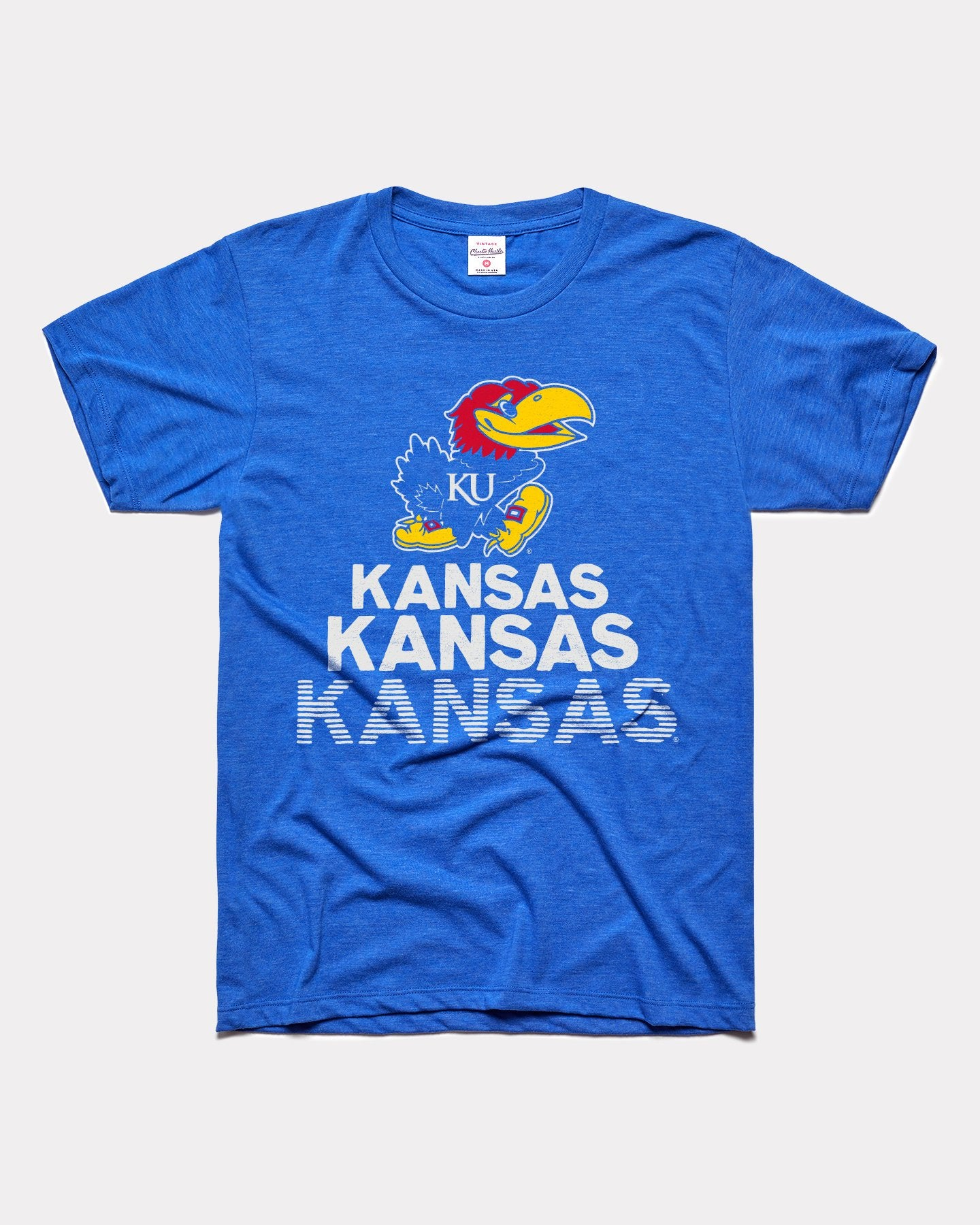 Blue Kansas Jayhawks Stacked Vintage T-Shirt