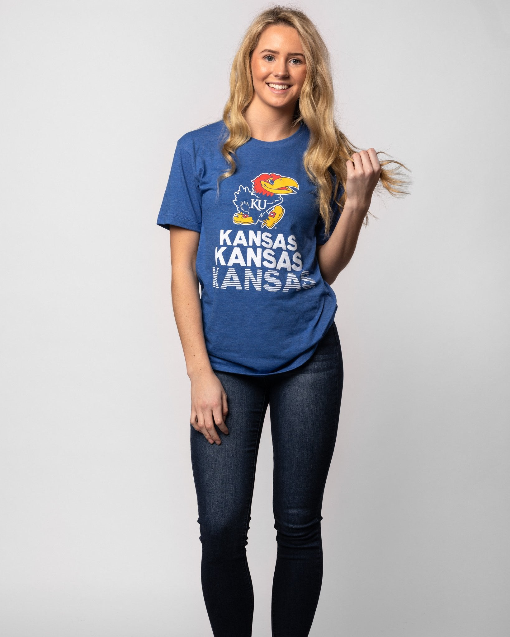 Blue Kansas Jayhawks Stacked Vintage T-Shirt Wide