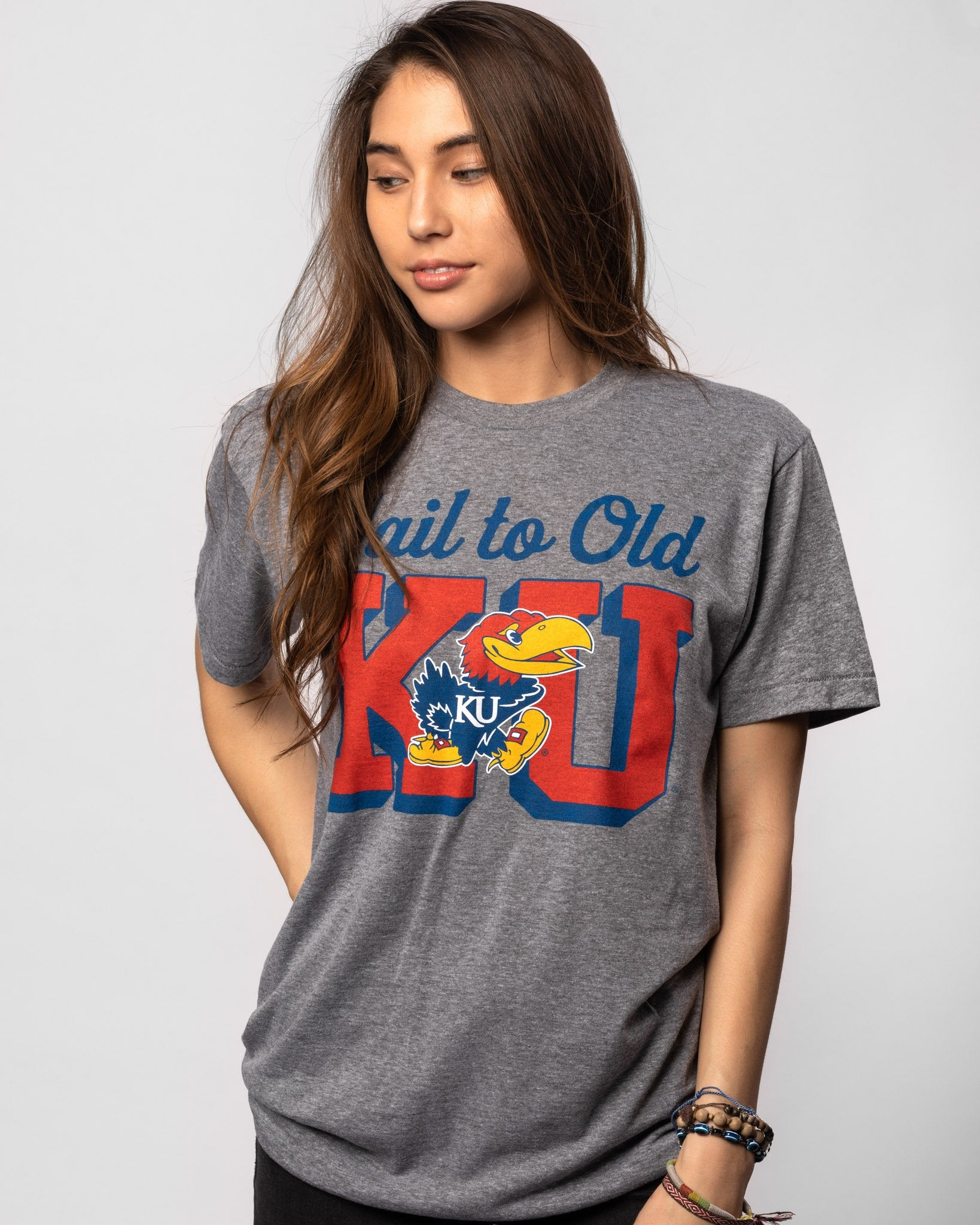 Grey Kansas Jayhawks Hail to Old KU Vintage T-Shirt Front