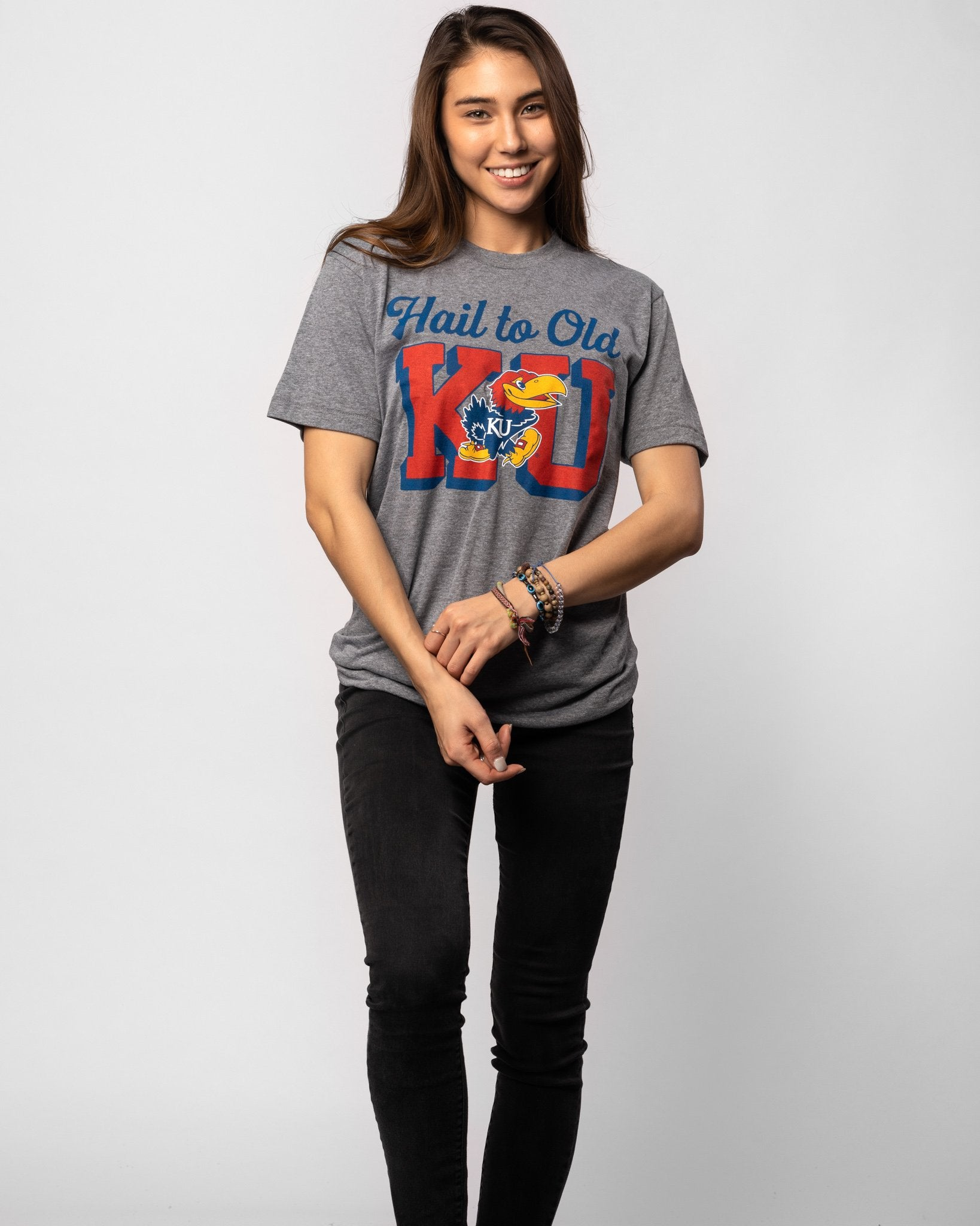 Grey Kansas Jayhawks Hail to Old KU Vintage T-Shirt Wide