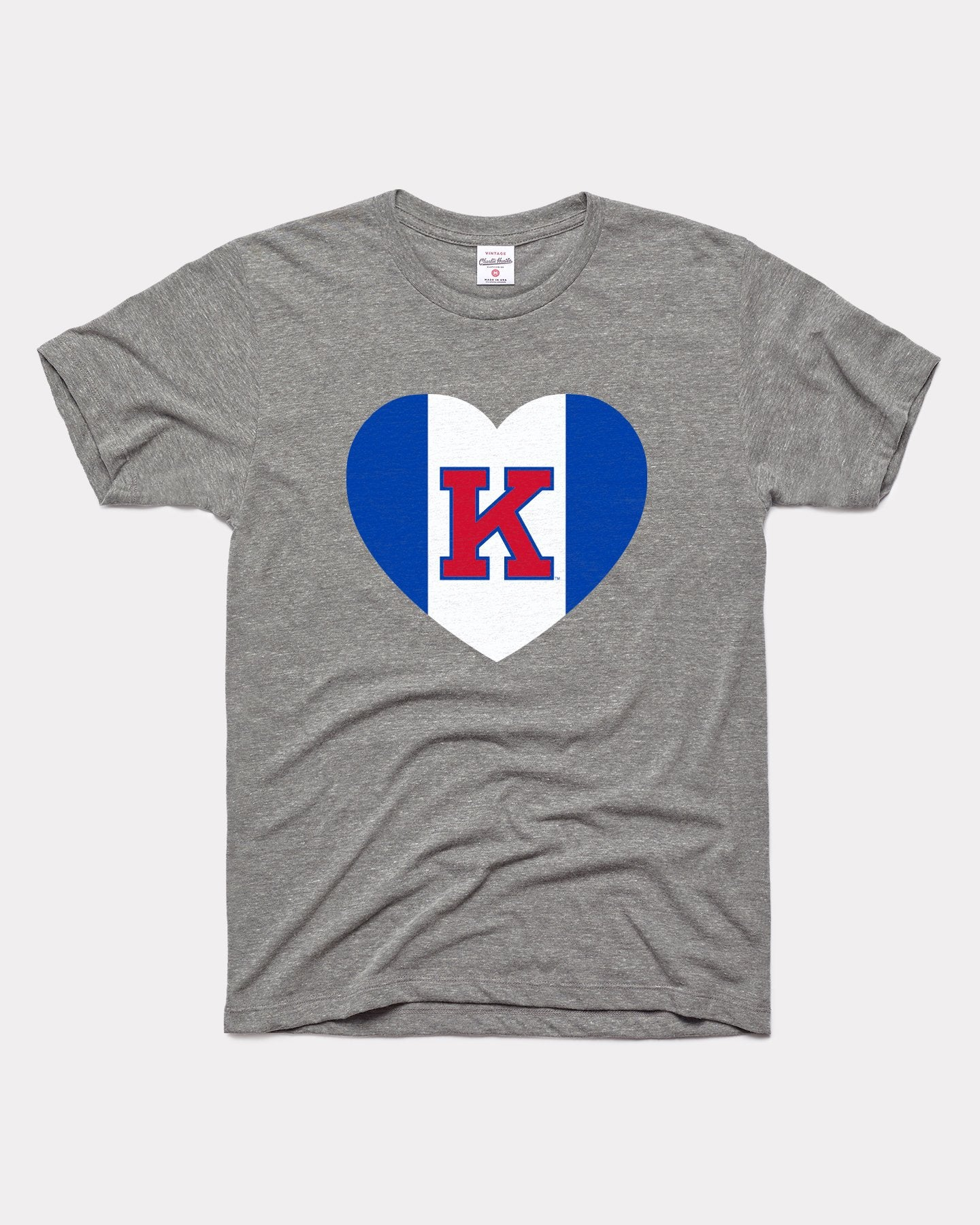 Grey Kansas Jayhawks Heart Vintage T-Shirt