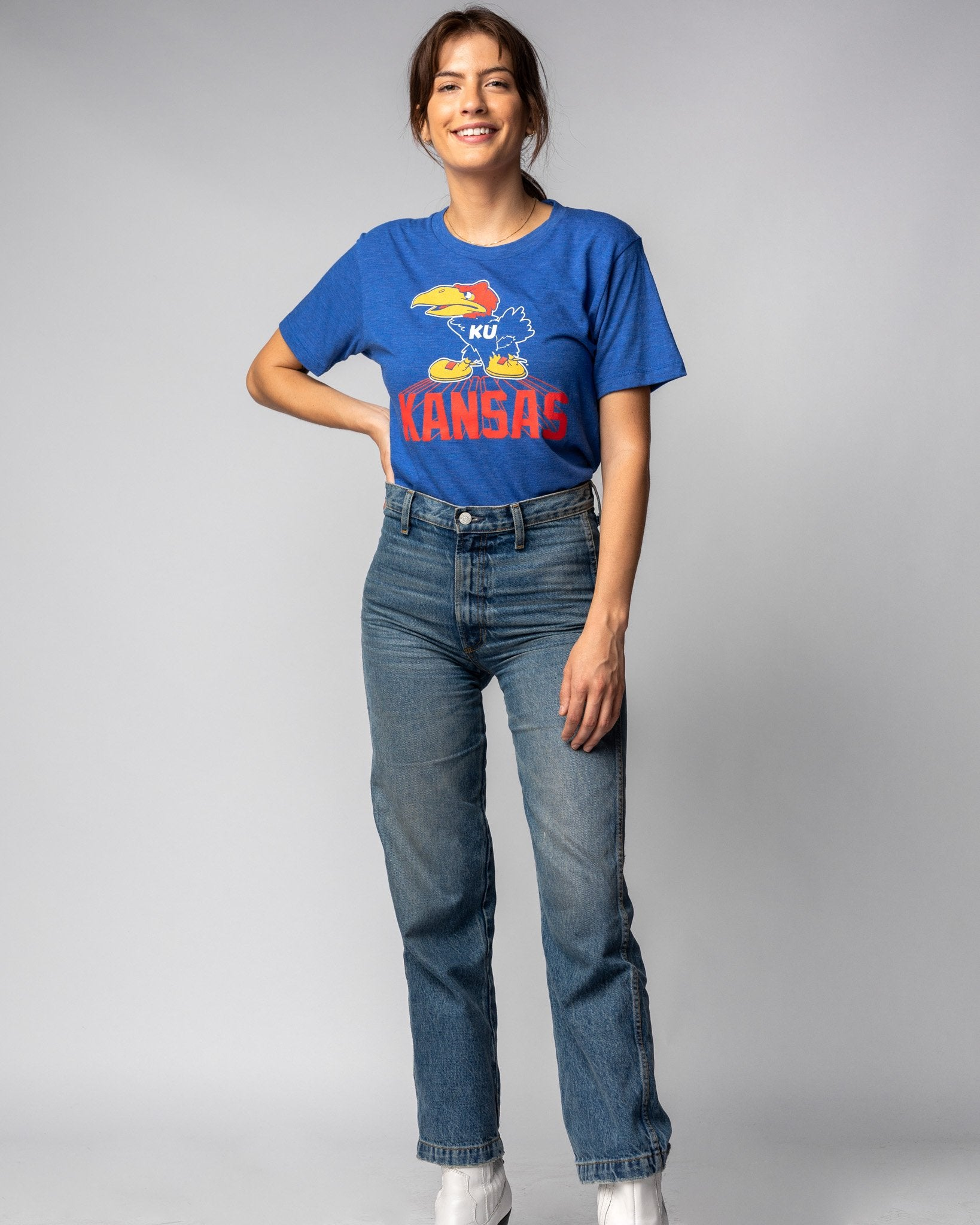 Royal Blue University Of Kansas Jayhawks Legacy Vintage T-Shirt Wide