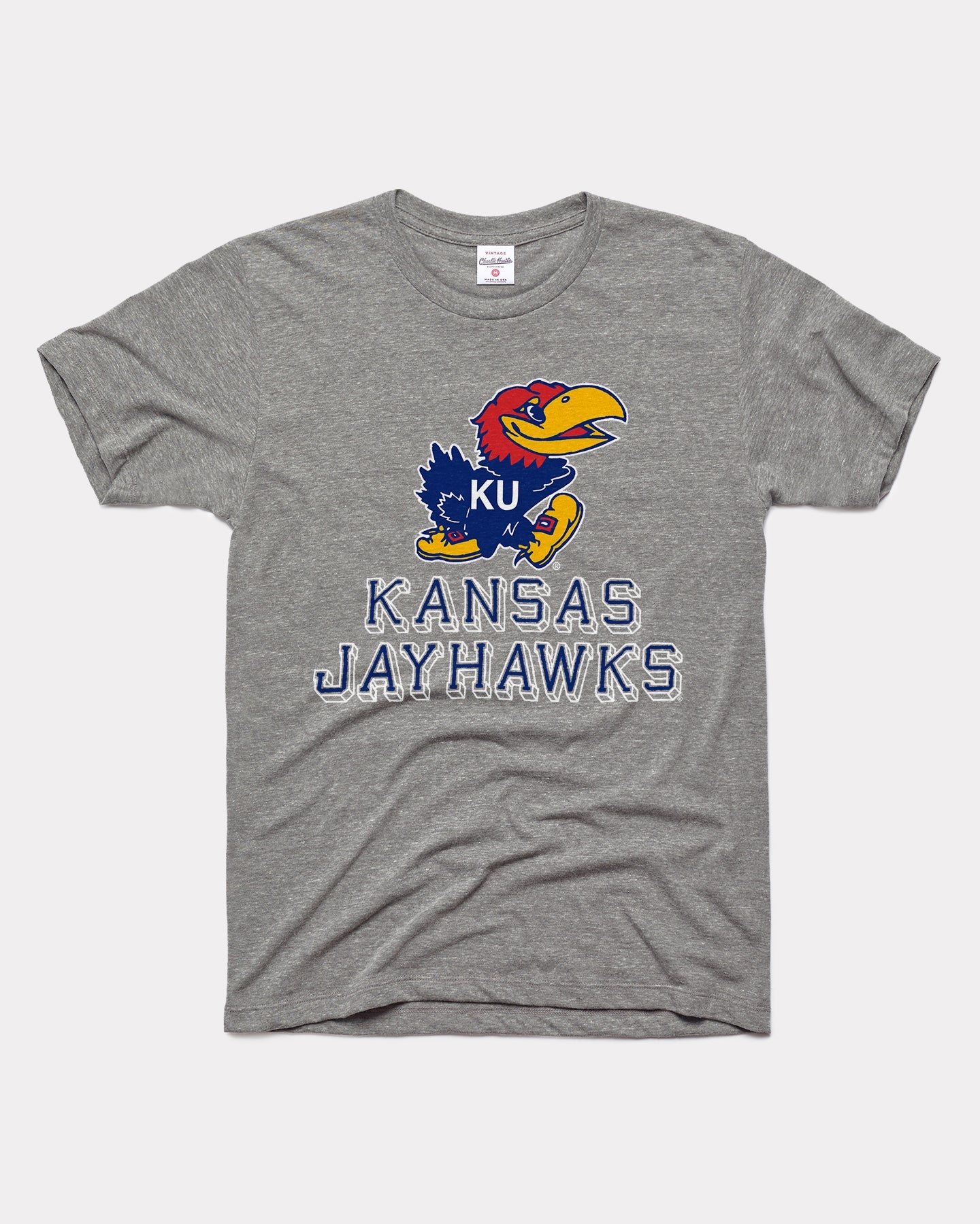 Grey University Of Kansas Jayhawks Block Vintage T-Shirt
