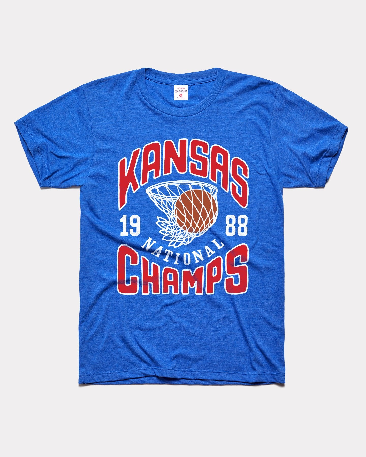 Royal Blue Kansas Jayhawks Basketball 1988 National Champs Vintage T-Shirt