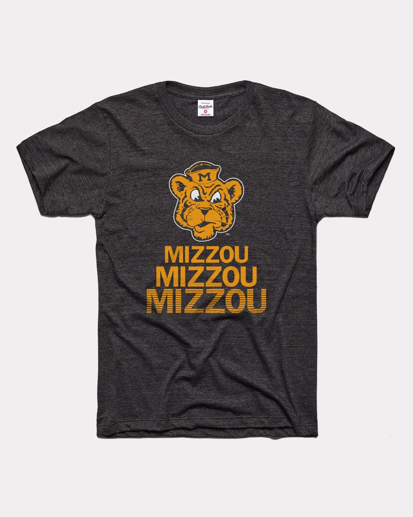 Black Missouri Tigers Stacked Vintage T-Shirt
