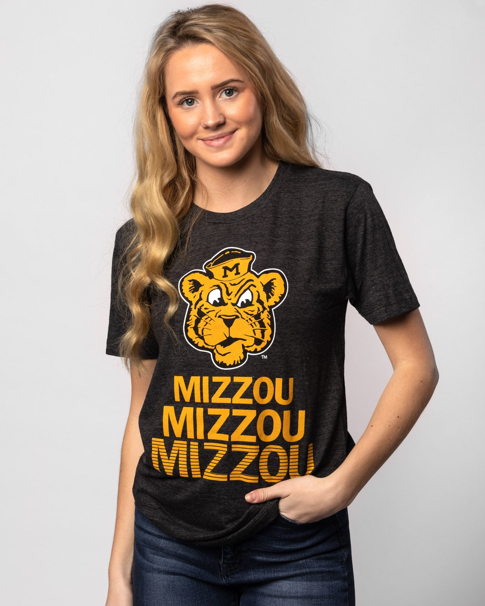 Black Missouri Tigers Stacked Vintage T-Shirt Front