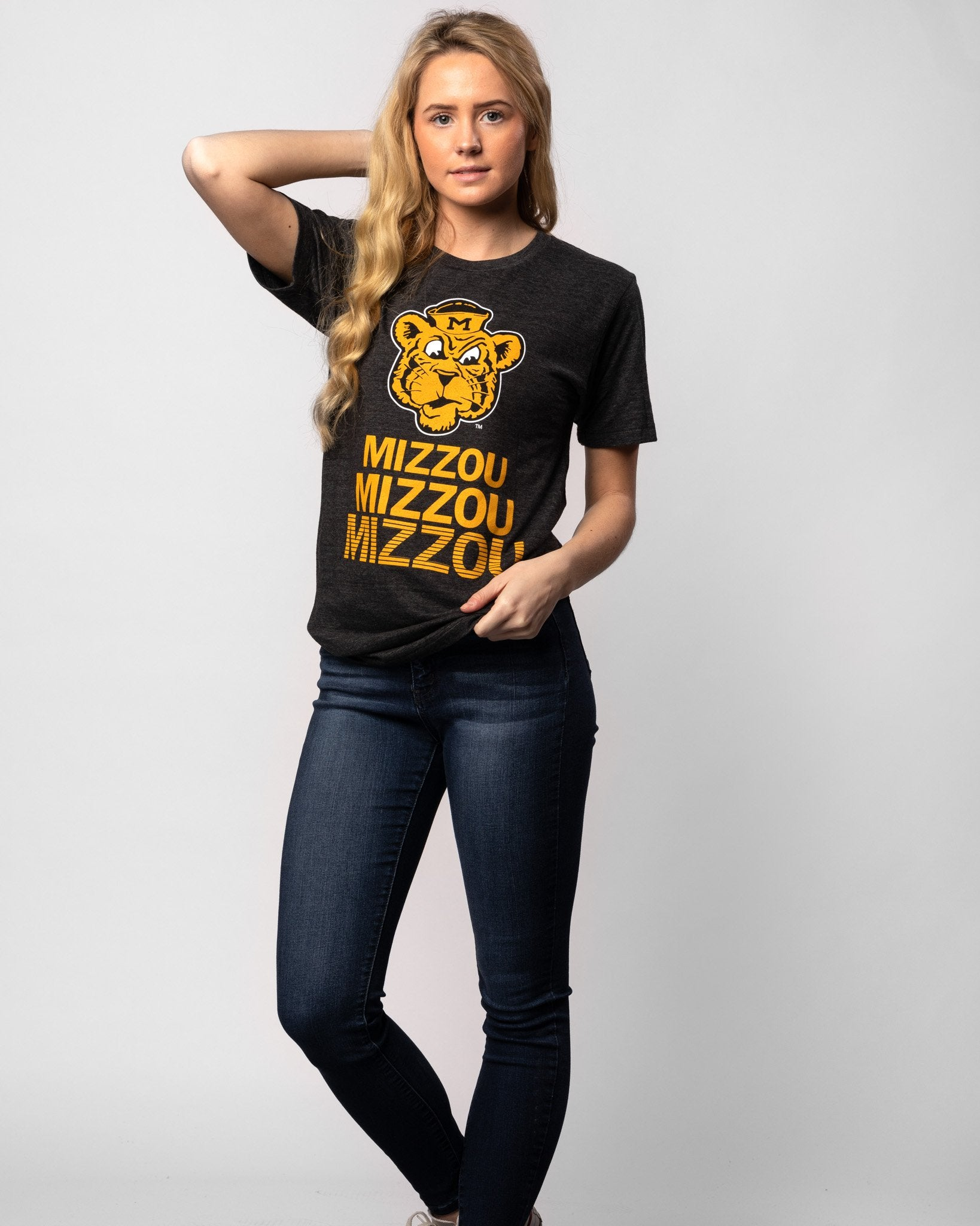 Black Missouri Tigers Stacked Vintage T-Shirt Wide