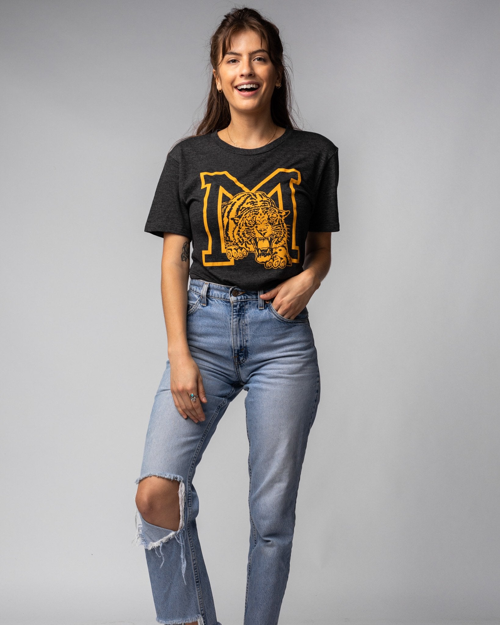 Black University of Missouri Tigers Monogram Vintage T-Shirt Wide