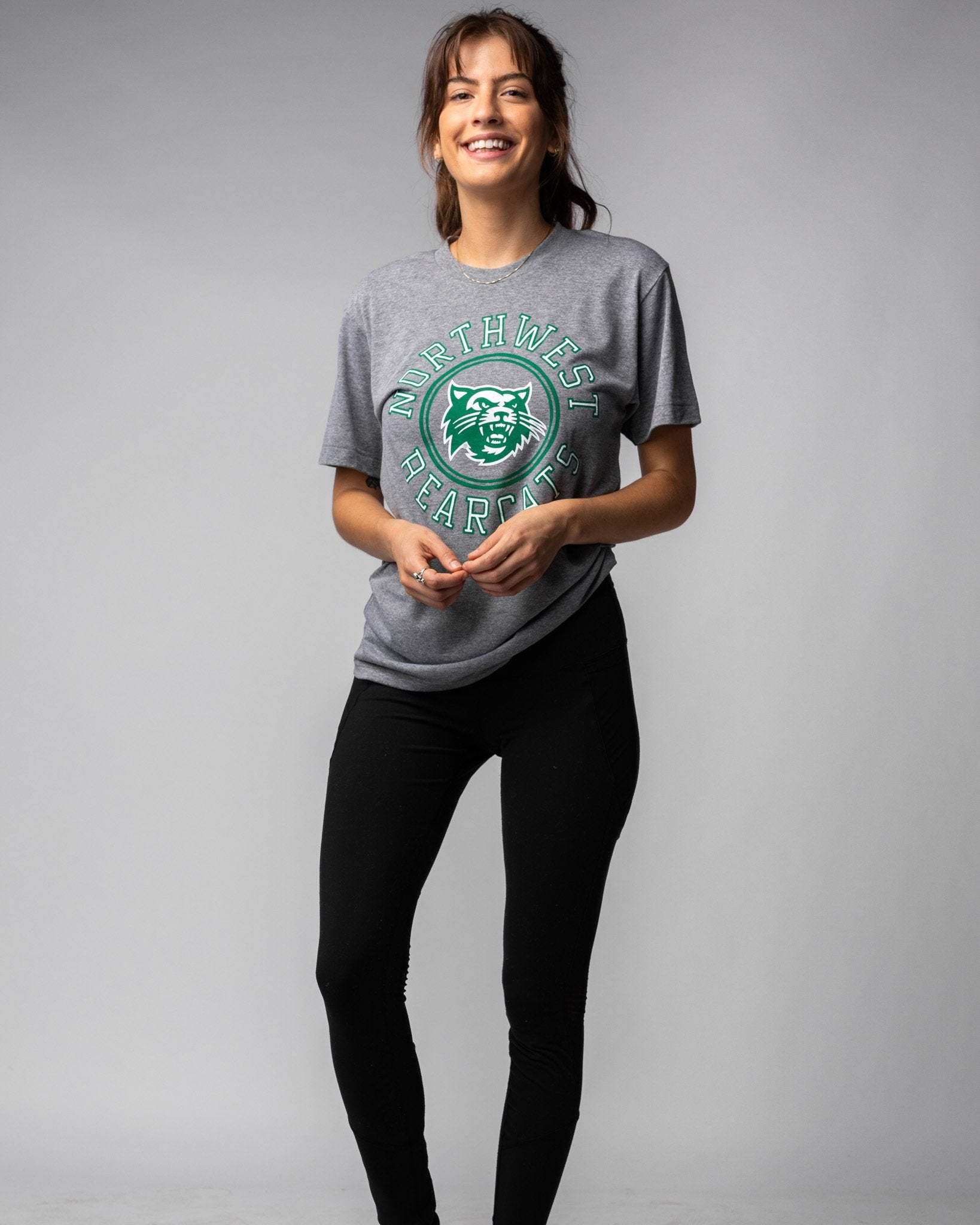 Grey Northwest Missouri State University Bearcats Wheel Vintage T-Shirt Wide