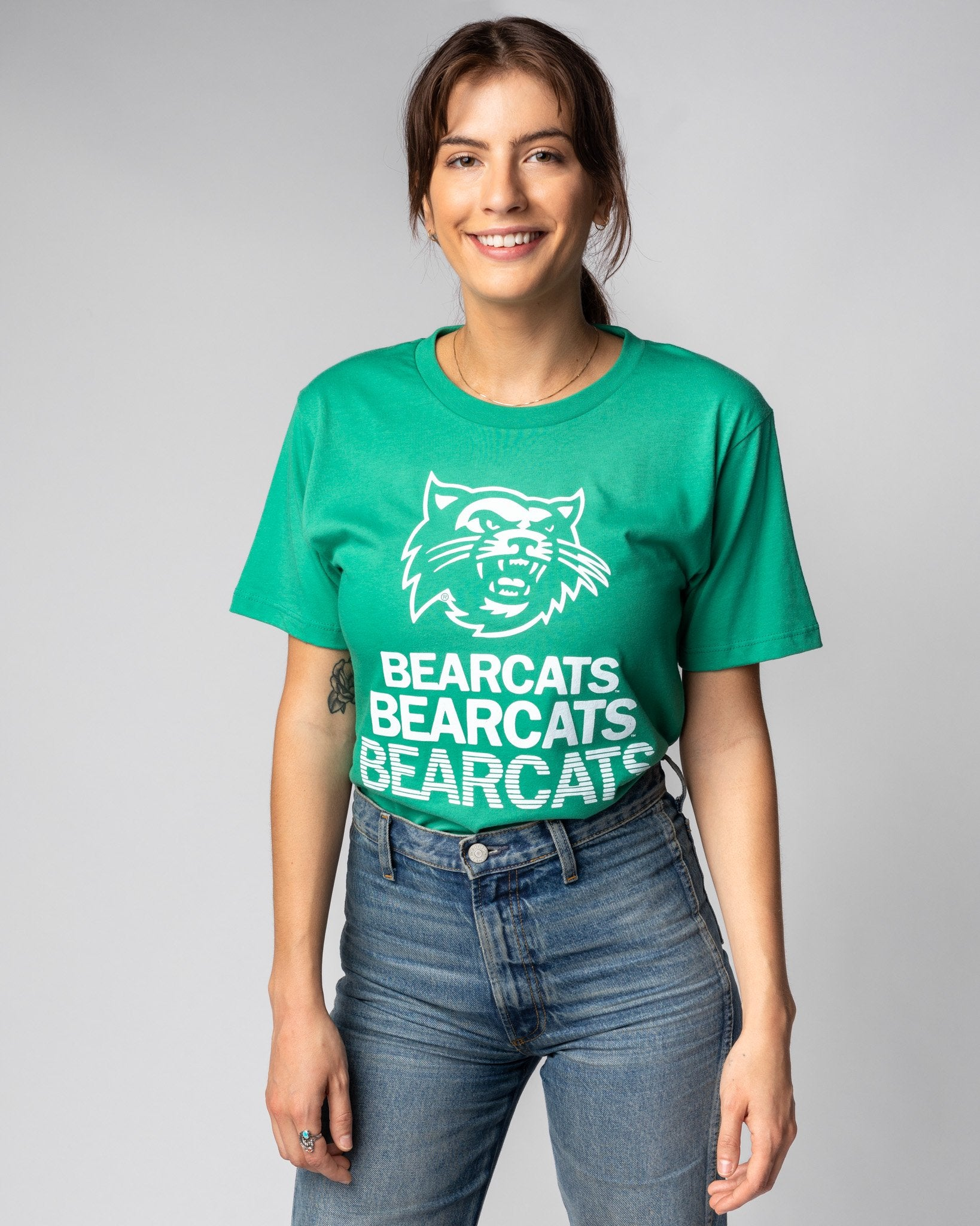 Green Northwest Missouri State University Bearcats Stacked Vintage T-Shirt Front