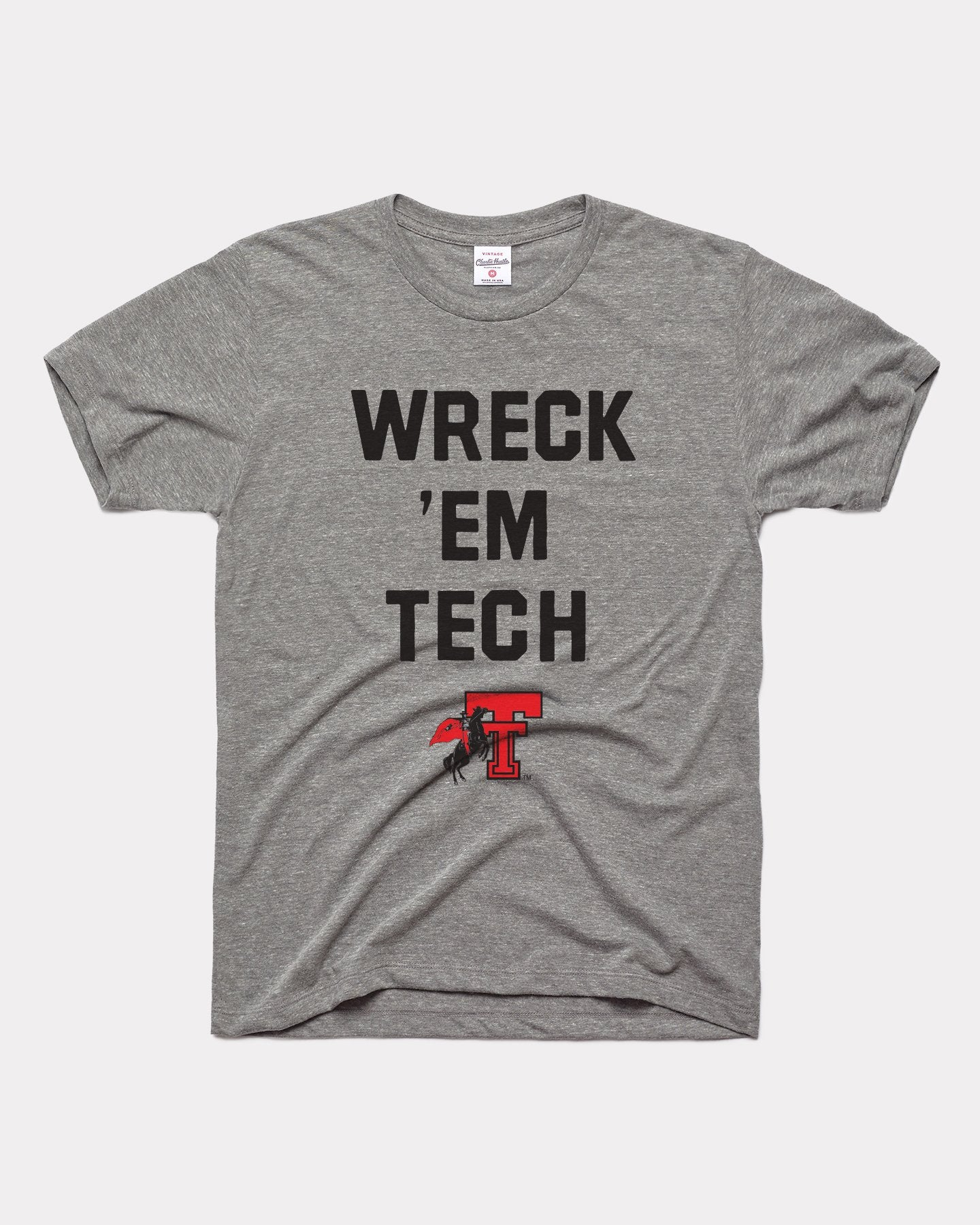 Grey Texas Tech University Red Raiders Wreck 'Em Vintage T-Shirt