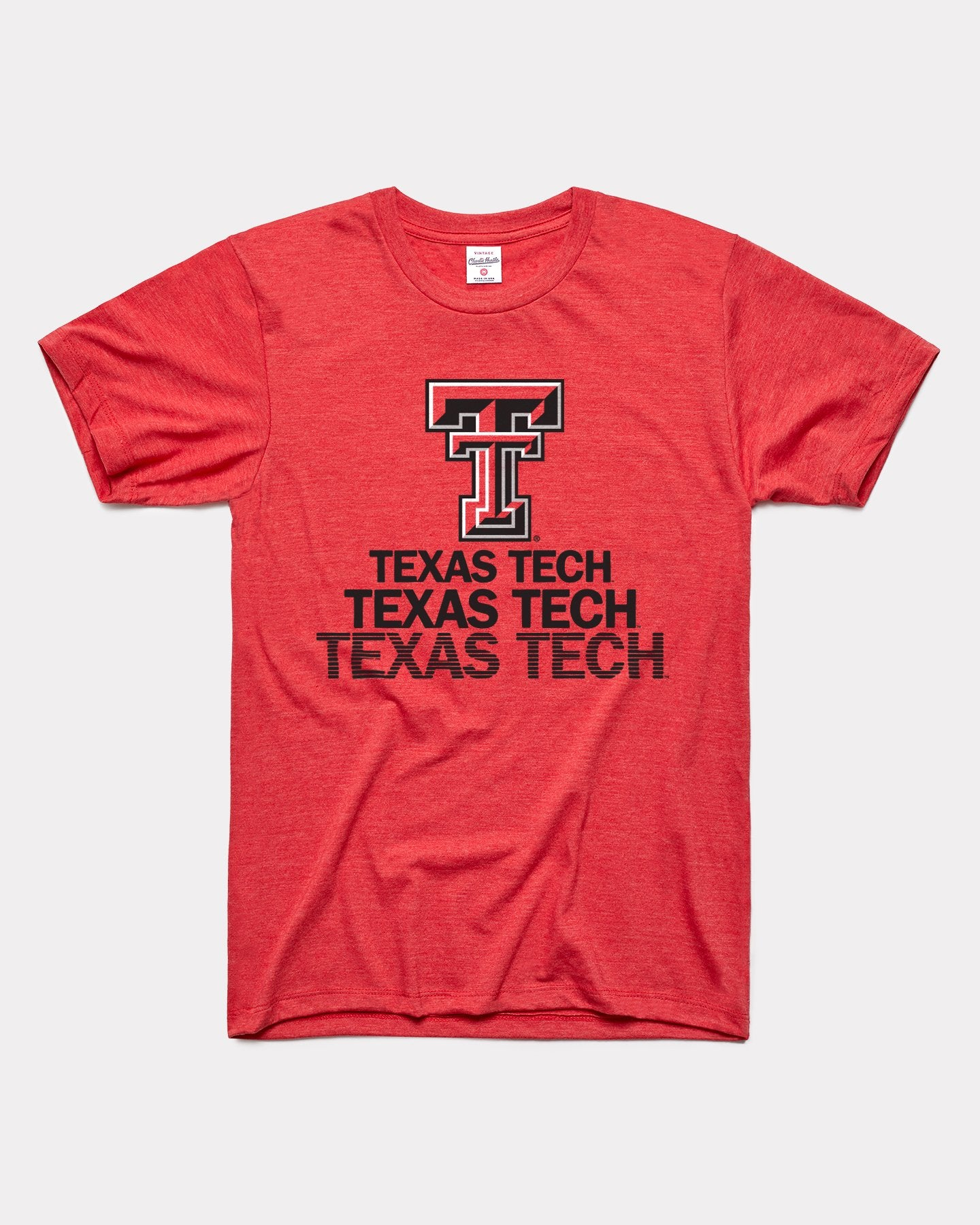 Red Texas Tech University Red Raiders Stacked Vintage T-Shirt