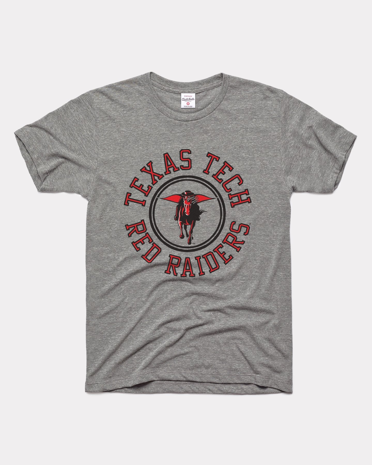 Grey Texas Tech University Red Raiders Wheel Vintage T-Shirt