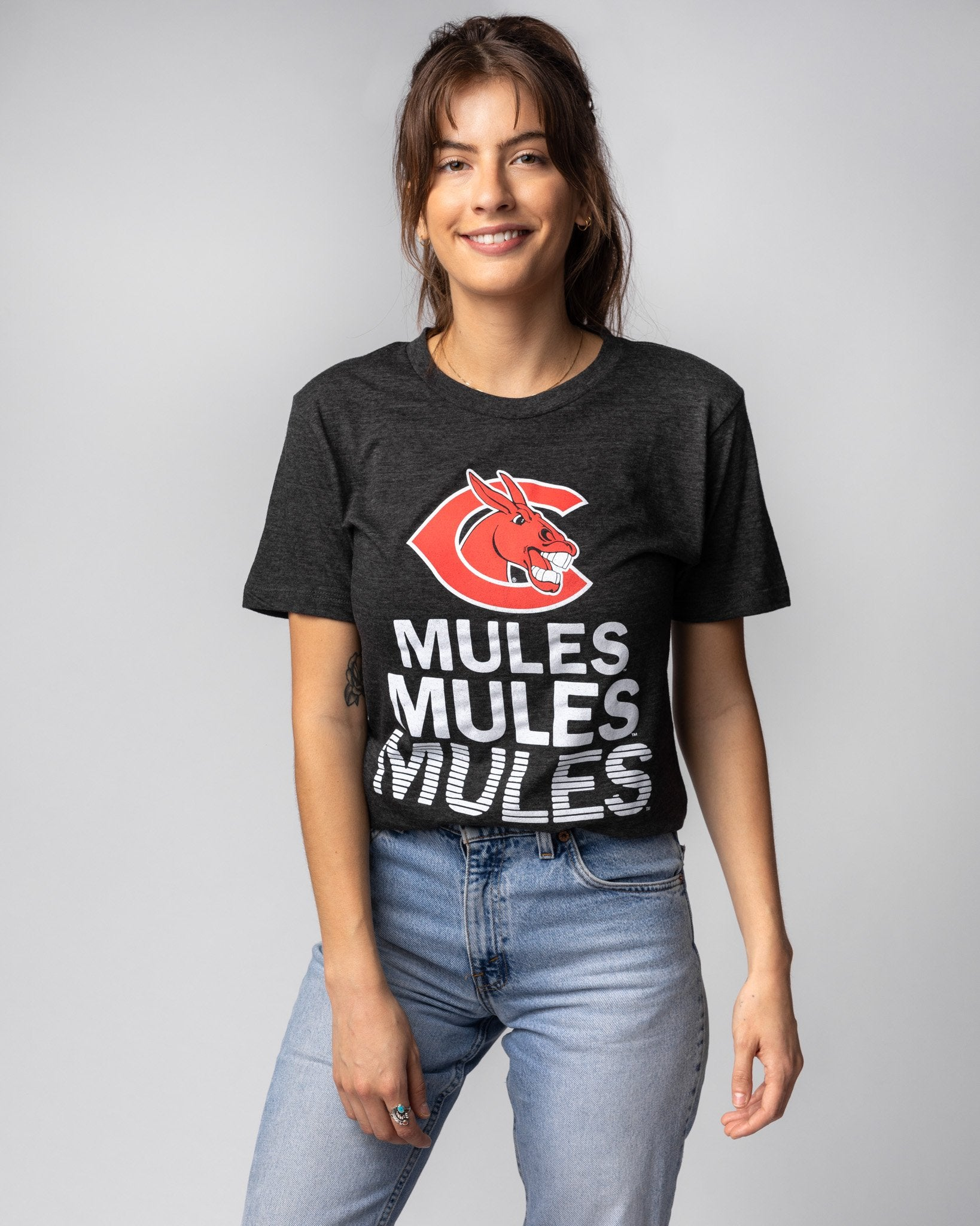 Black University Of Central Missouri Mules Stacked Vintage T-Shirt Front