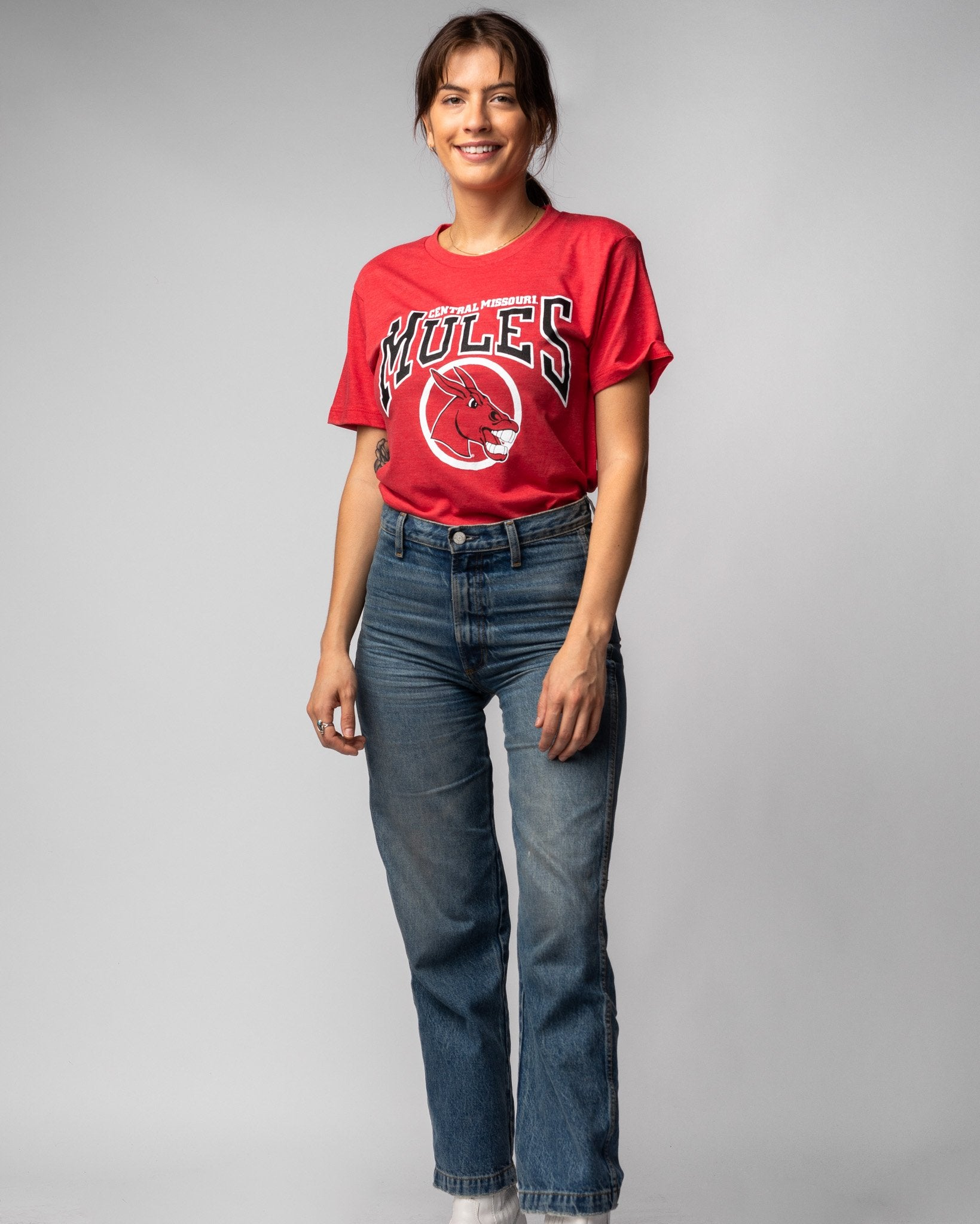 Red University Of Central Missouri Mules Vintage T-Shirt Wide