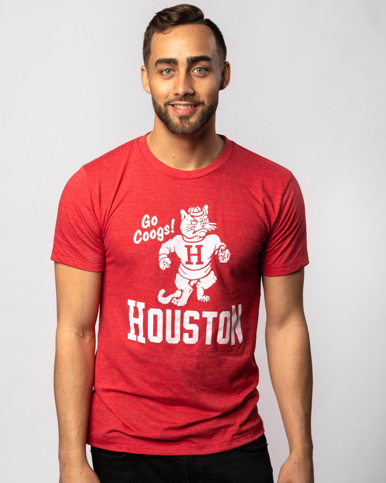 Red Houston Cougars Go Coogs Vintage T-Shirt Front