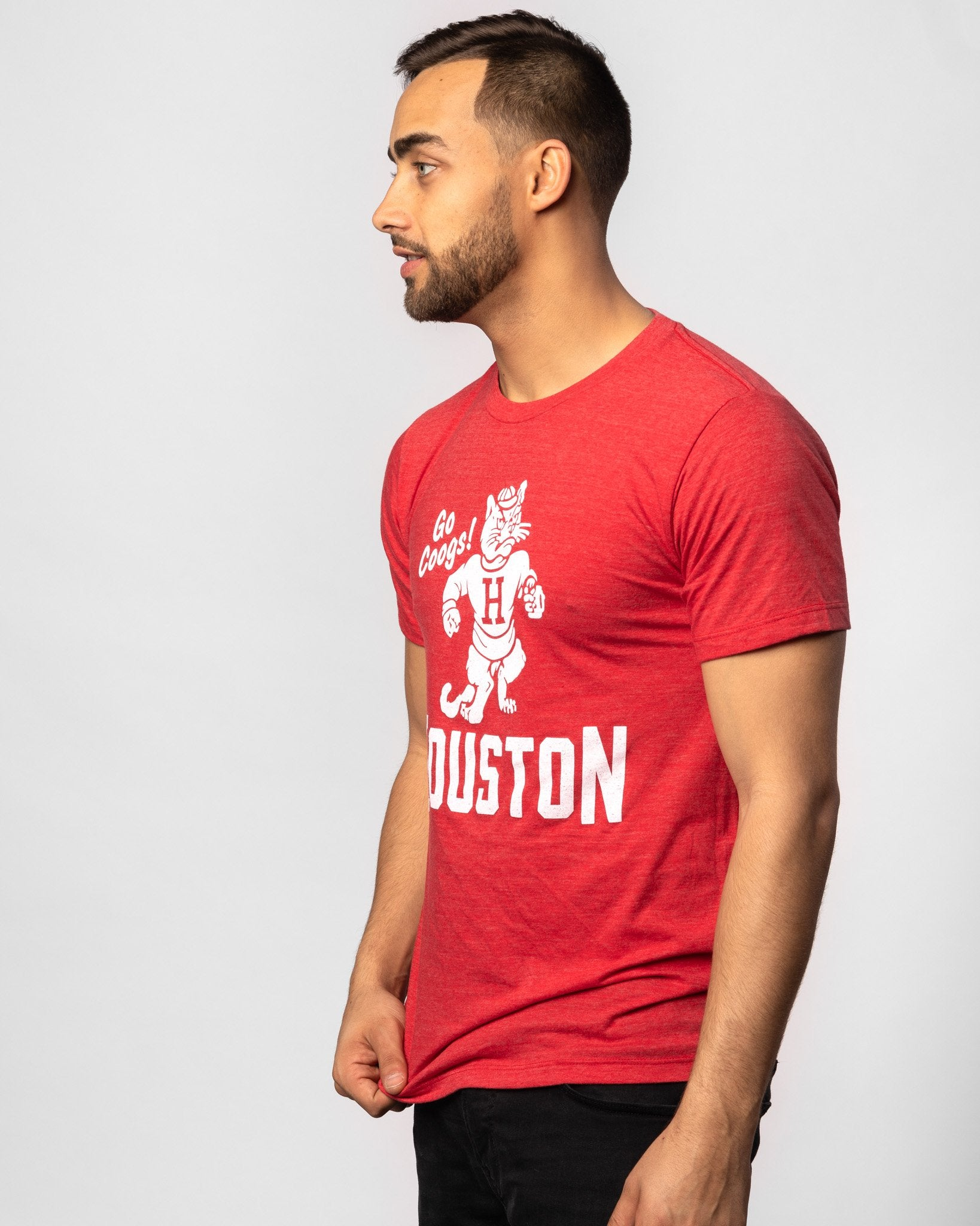 Red Houston Cougars Go Coogs Vintage T-Shirt Side