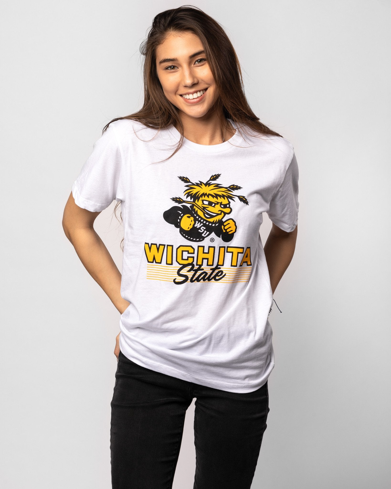 White Wichita State Shockers Heritage Script Vintage T-Shirt Front