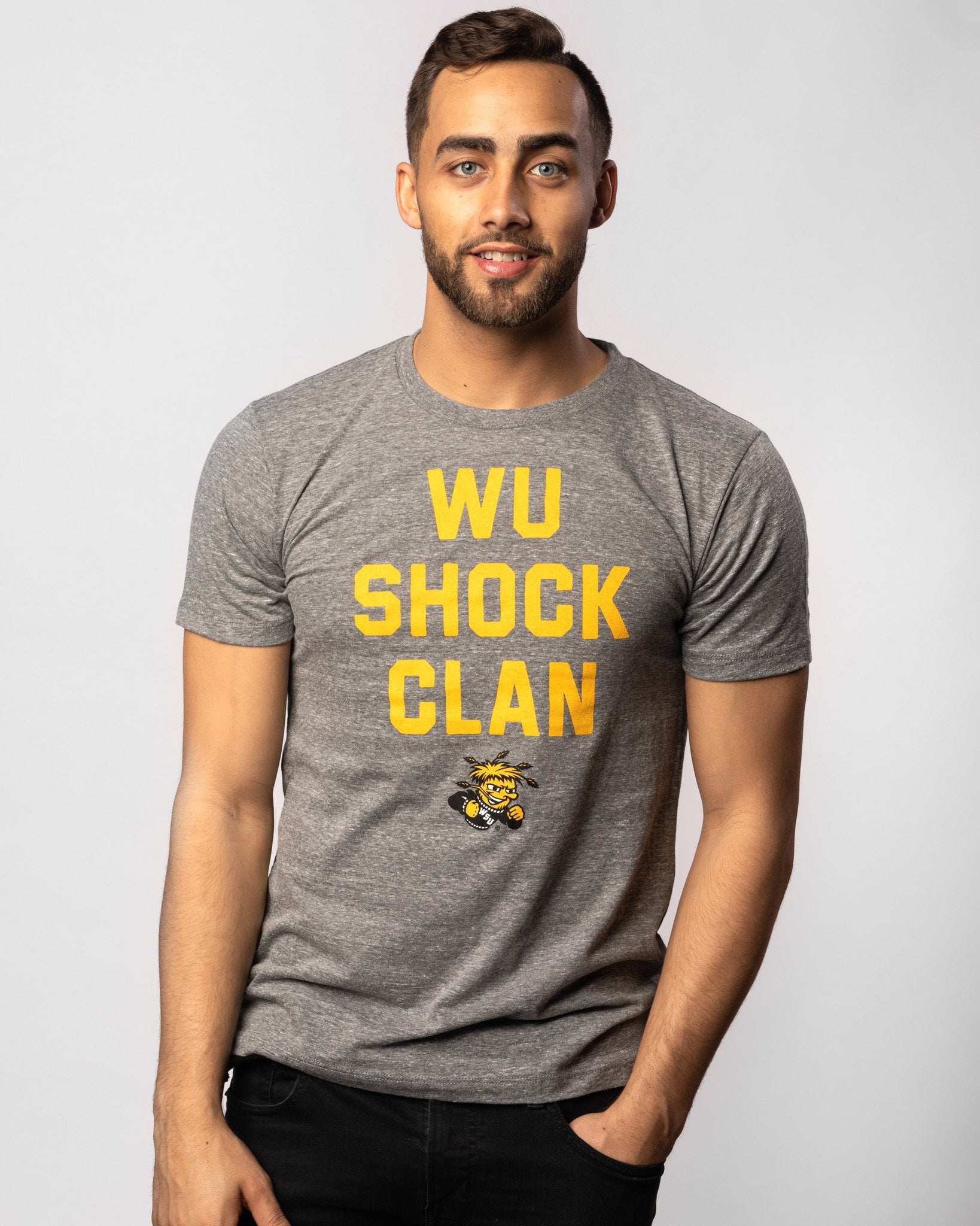 Grey Wichita State Shockers Wu Shock Clan Vintage T-Shirt Front
