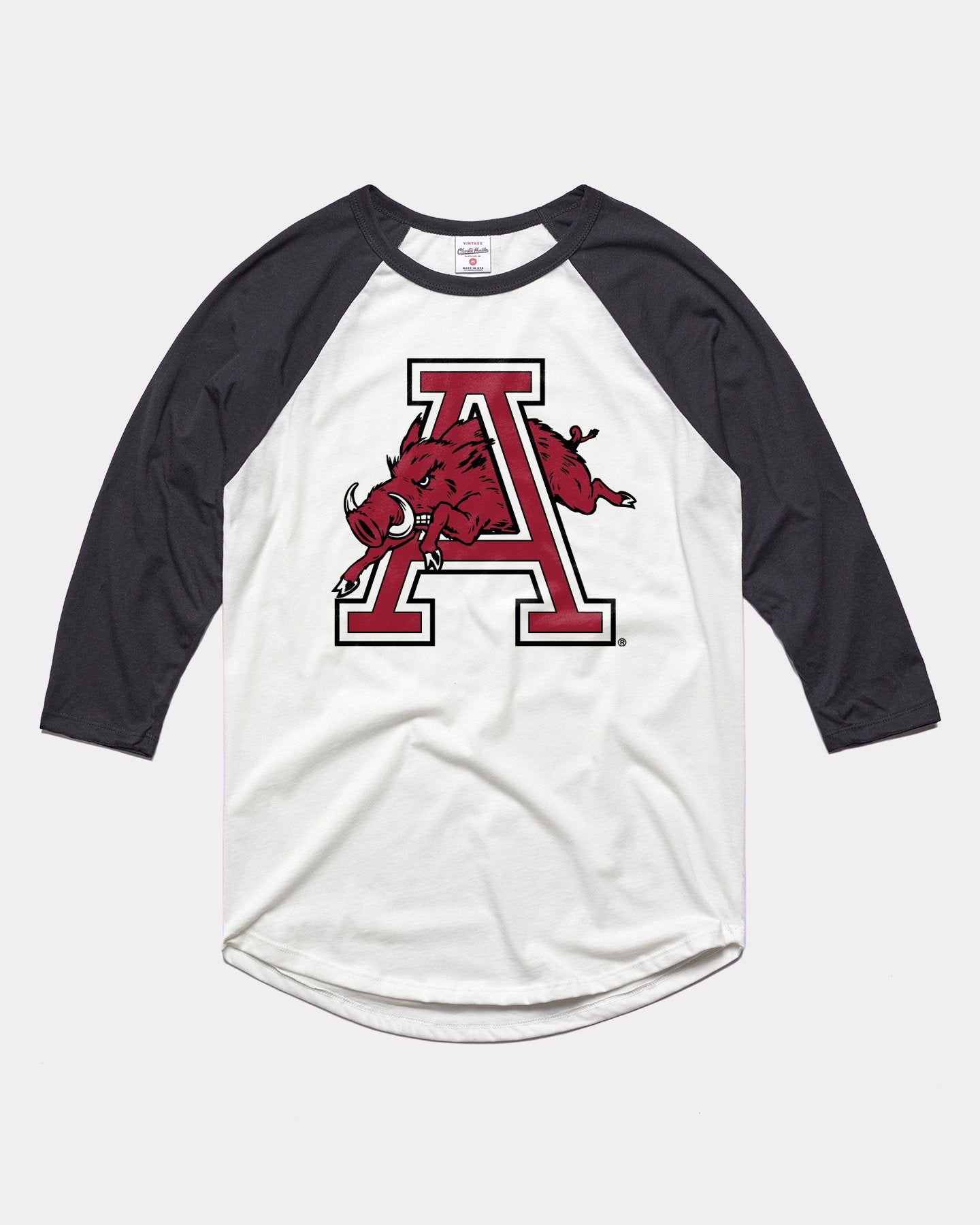 White & Black Arkansas Razorbacks Monogram Vintage Raglan T-Shirt