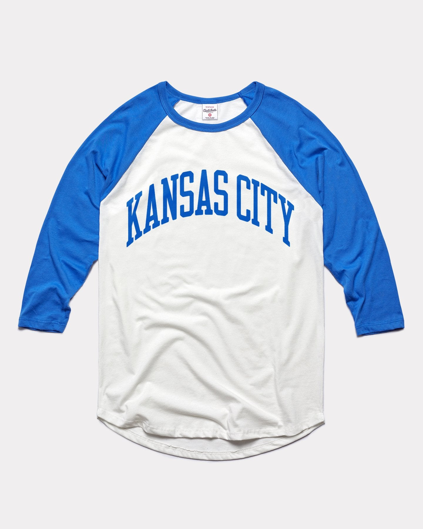 White & Blue Kansas City Arch Vintage Raglan T-Shirt