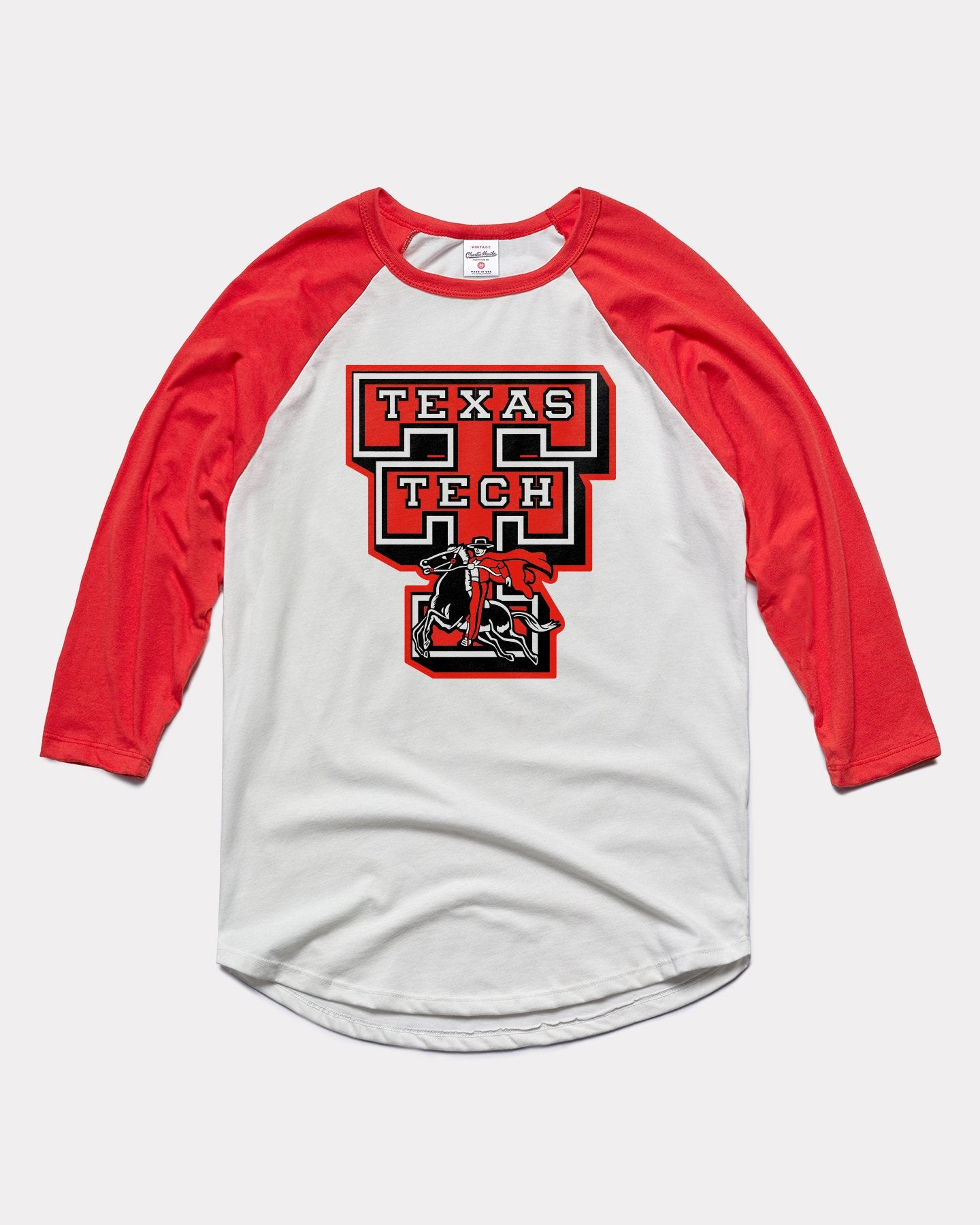 White & Red Texas Tech University Red Raiders Double T Vintage T-Shirt