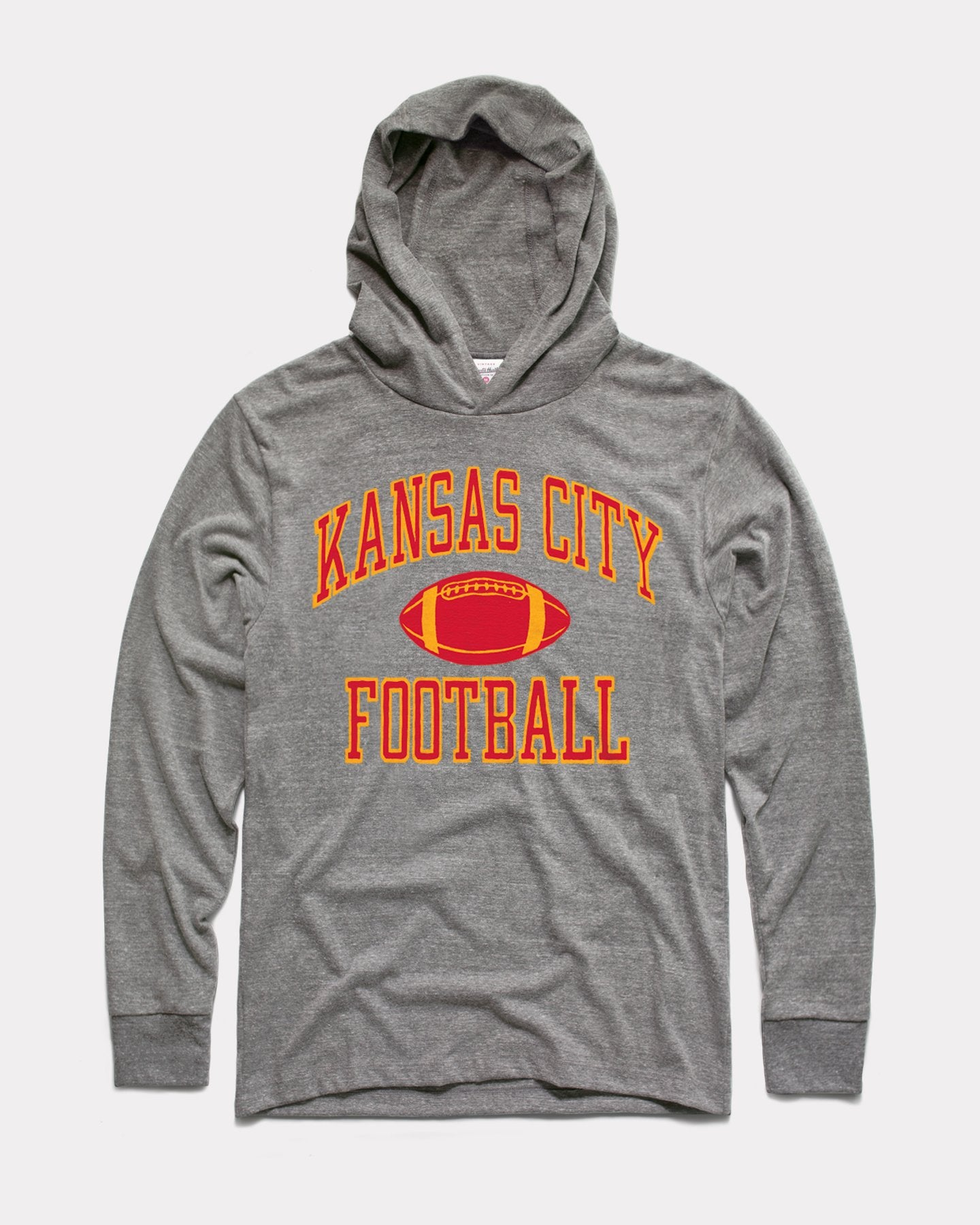 Grey Kansas City Football Vintage Arrowhead Lightweight Hoodie Sweatshirt