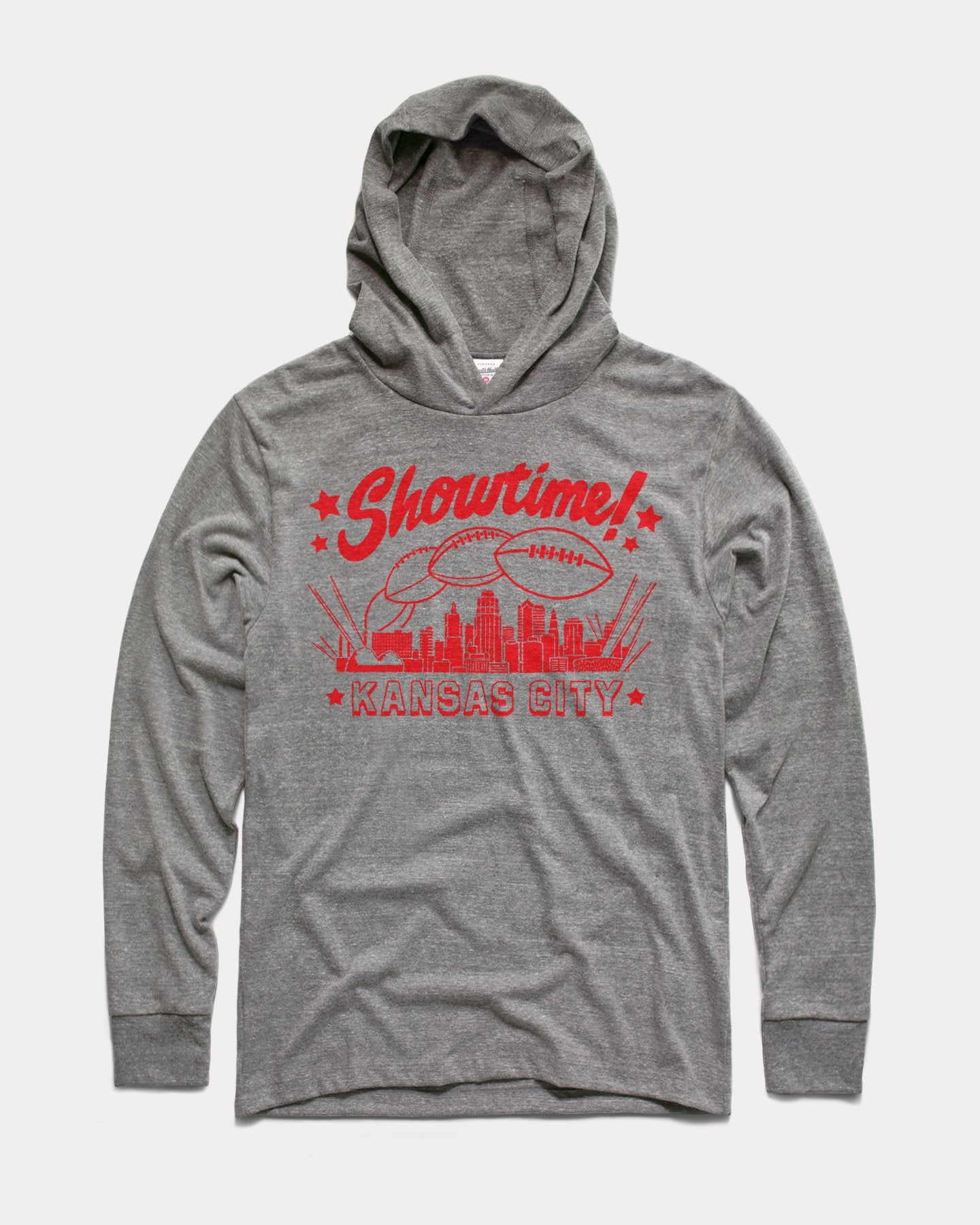 Grey Showtime Kansas City Arrowhead Playoffs Vintage Lightweight Hoodie Sweatshirt